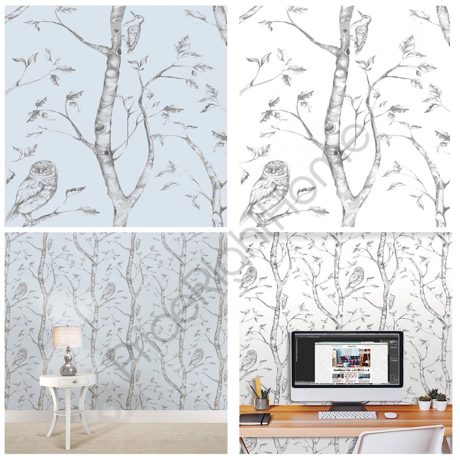 Details about WOODS PEEL & STICK BEDROOM WALLPAPER WALL DECOR BLUE & GREY  NEW