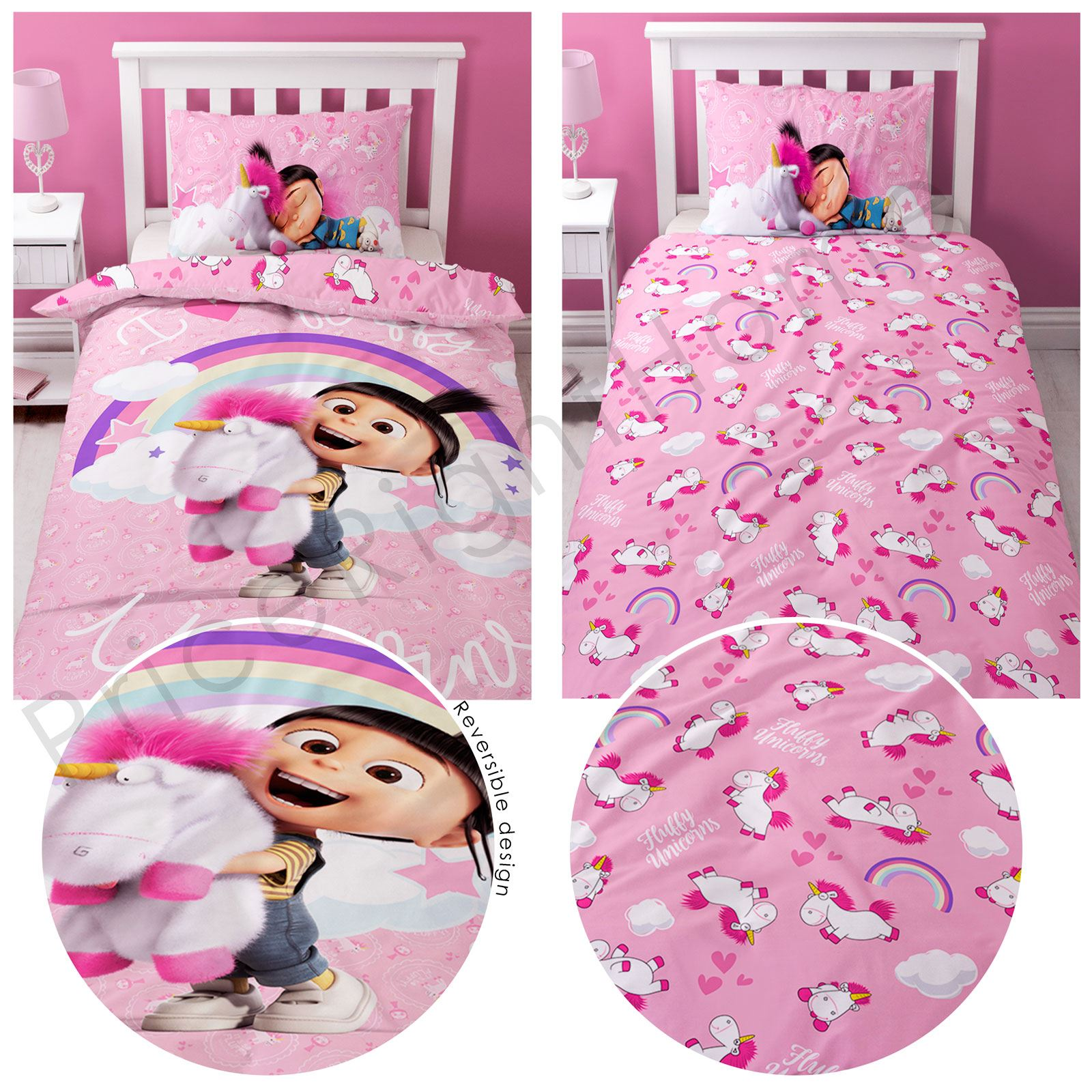 Despicable Me Fluffy Unicorn Duvet Cover Set Kids