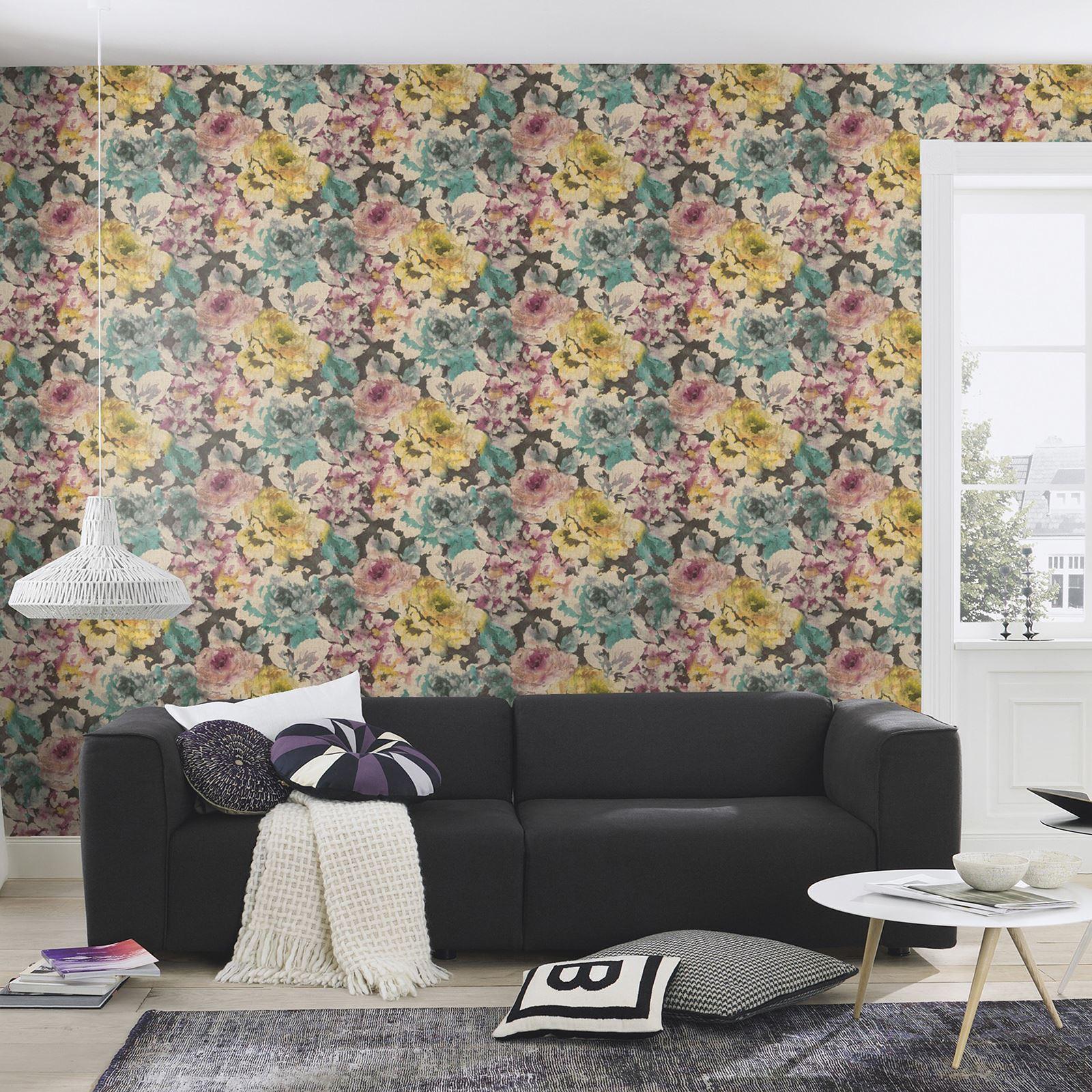 rasch florentine schick blumen tapete grau rosa nat rlich koralle wandtapete neu ebay. Black Bedroom Furniture Sets. Home Design Ideas