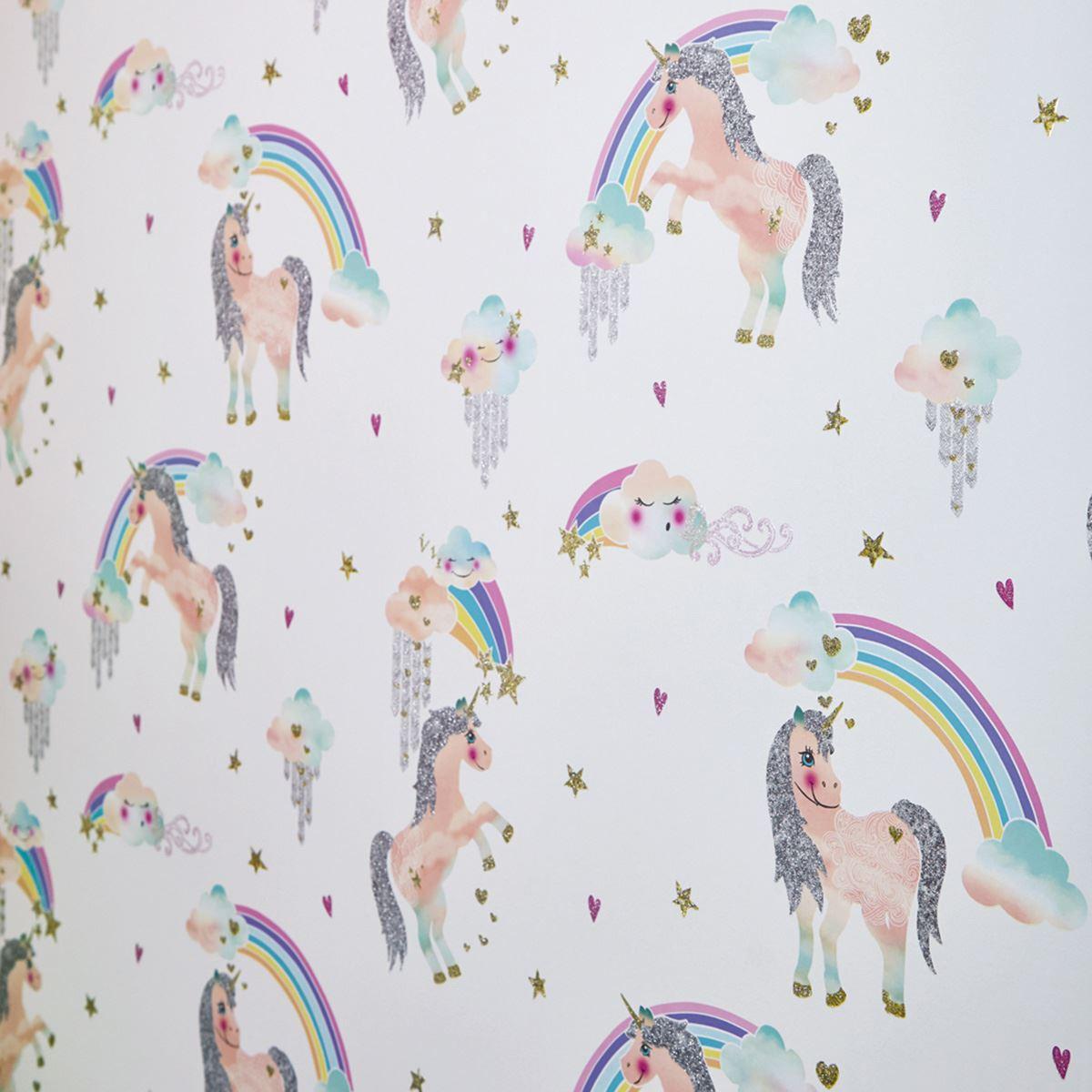 Licorne Arc En Ciel Paillete Papier Peint Arthouse 696109 Pour