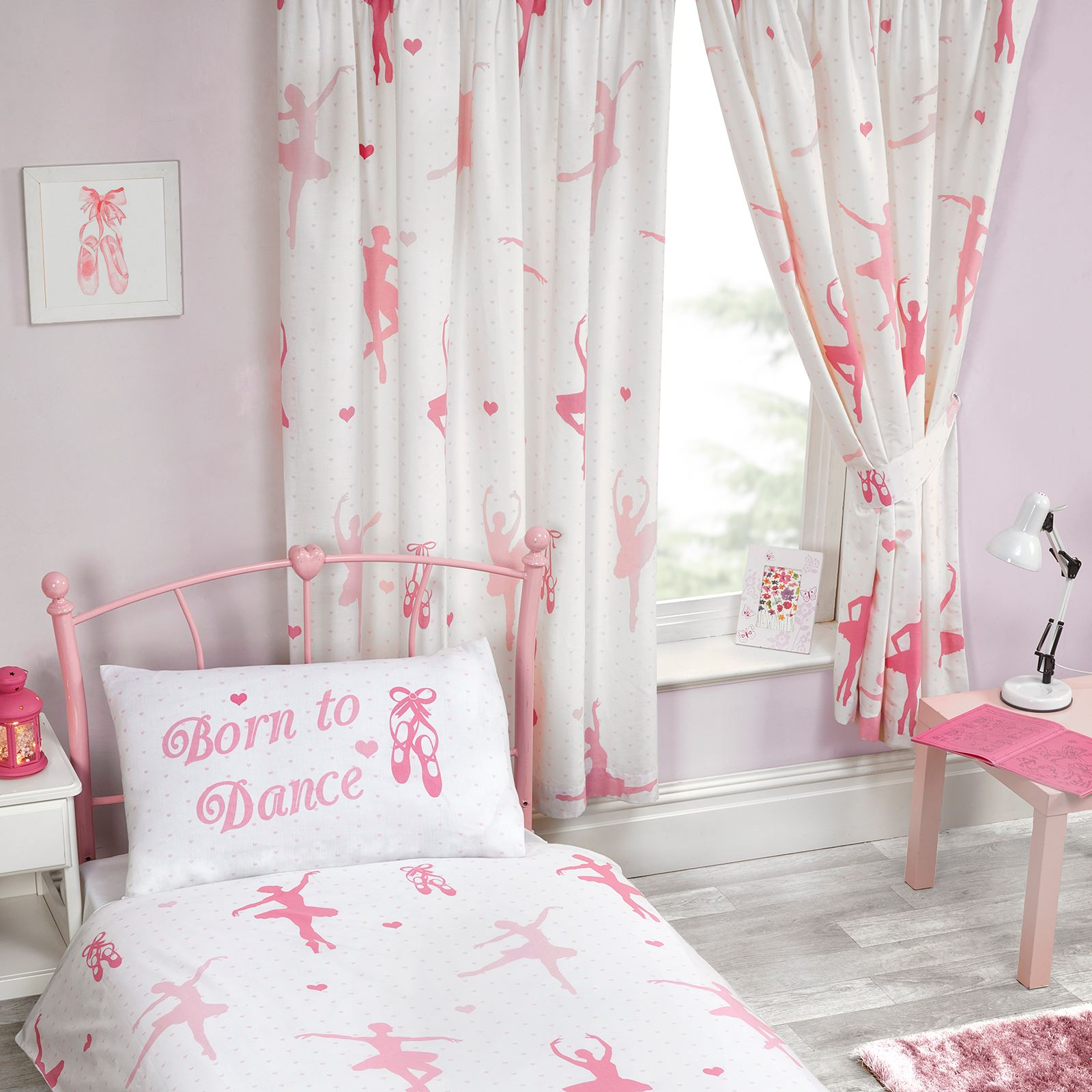 Details about BORN TO DANCE BALLERINA LINED CURTAINS BEDROOM 54\