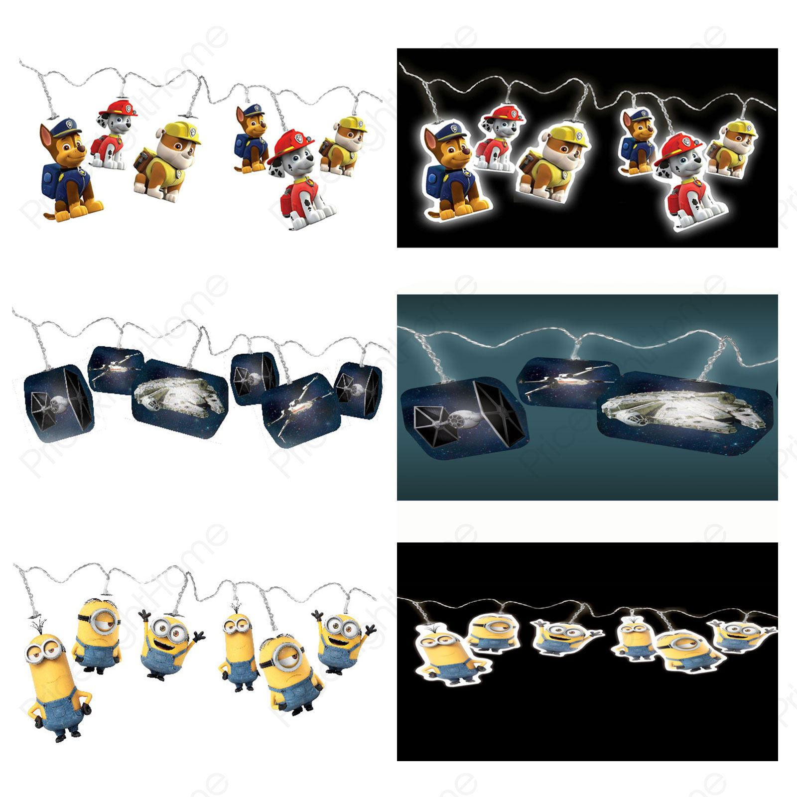 STRING LIGHTS MINIONS STAR WARS TROLLS PAW PATROL - KIDS BEDROOM ...