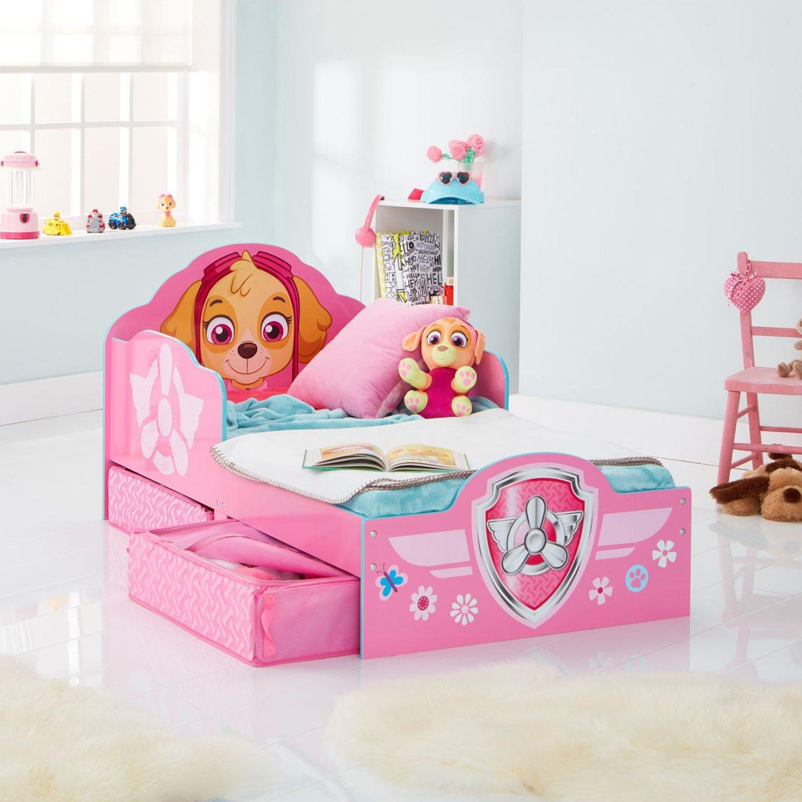 paw patrol skye toddler bed with underbed storage girls childrens rh ebay co uk bed girl baby bed girl and boy