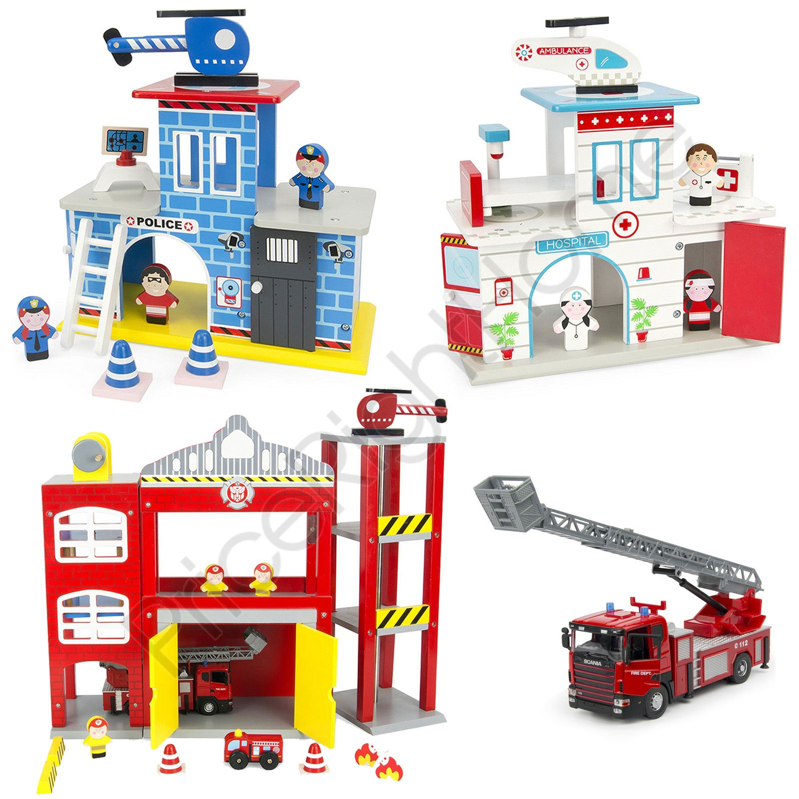 Details About Wooden Fire Station Police Station Hospital With Figures Kids Play Set Leomark