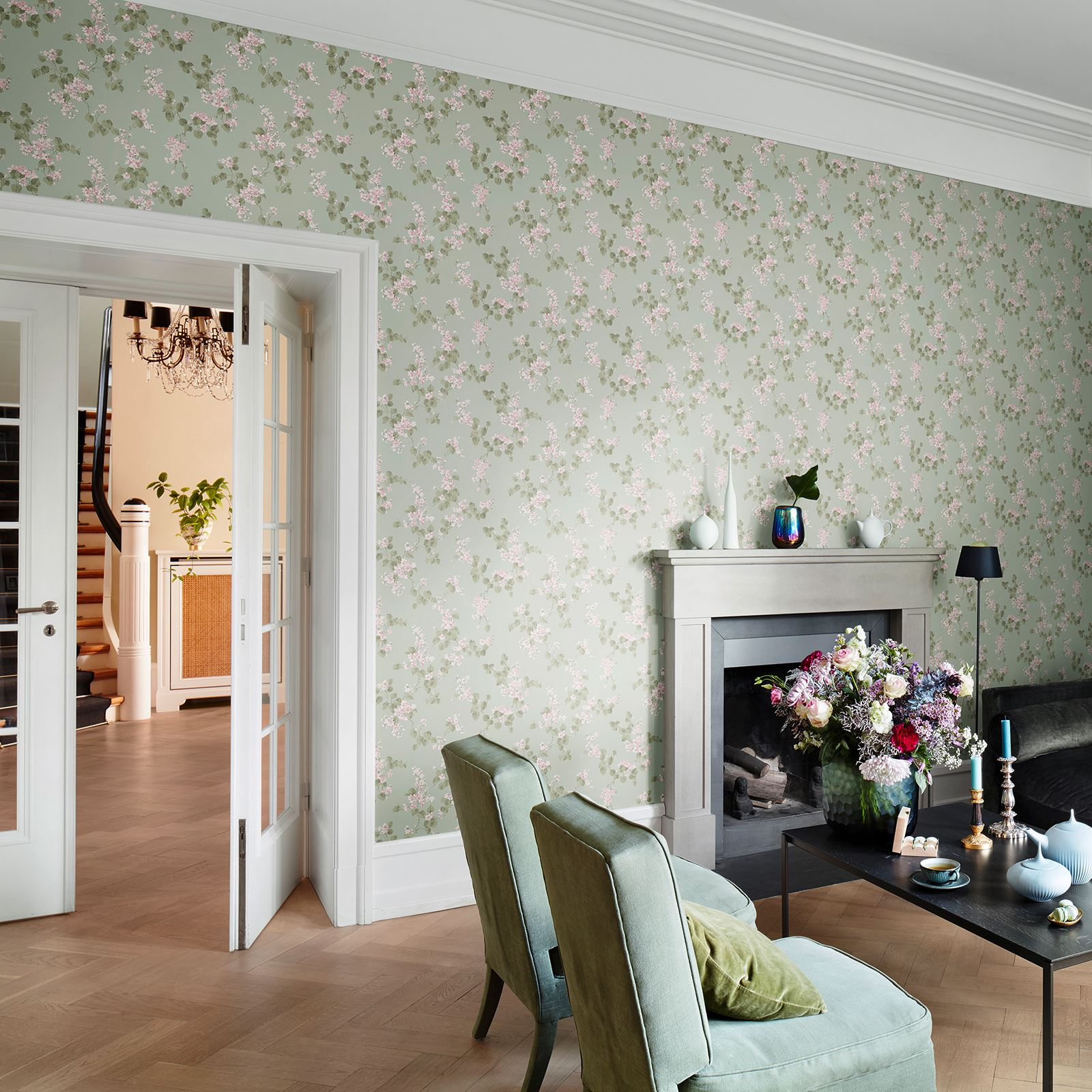 Details About Rasch Emilia Floral Blossom Rose Wallpaper Shabby Chic Feature Wall Decor New