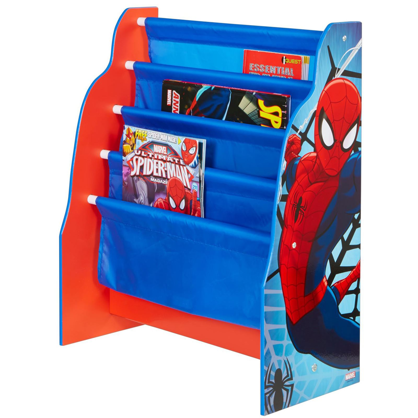 SPIDERMAN SLING BOOKCASE BLUE AND RED CHILDRENS BEDROOM BOOK TOY STORAGE NEW