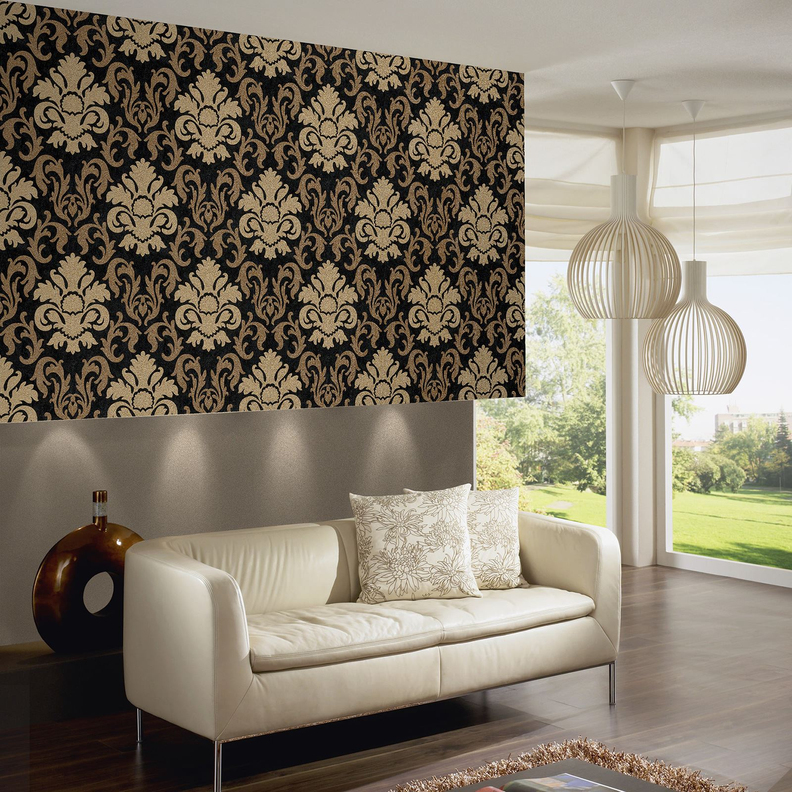 CARAT DAMASK GLITTER WALLPAPER GOLD BLACK