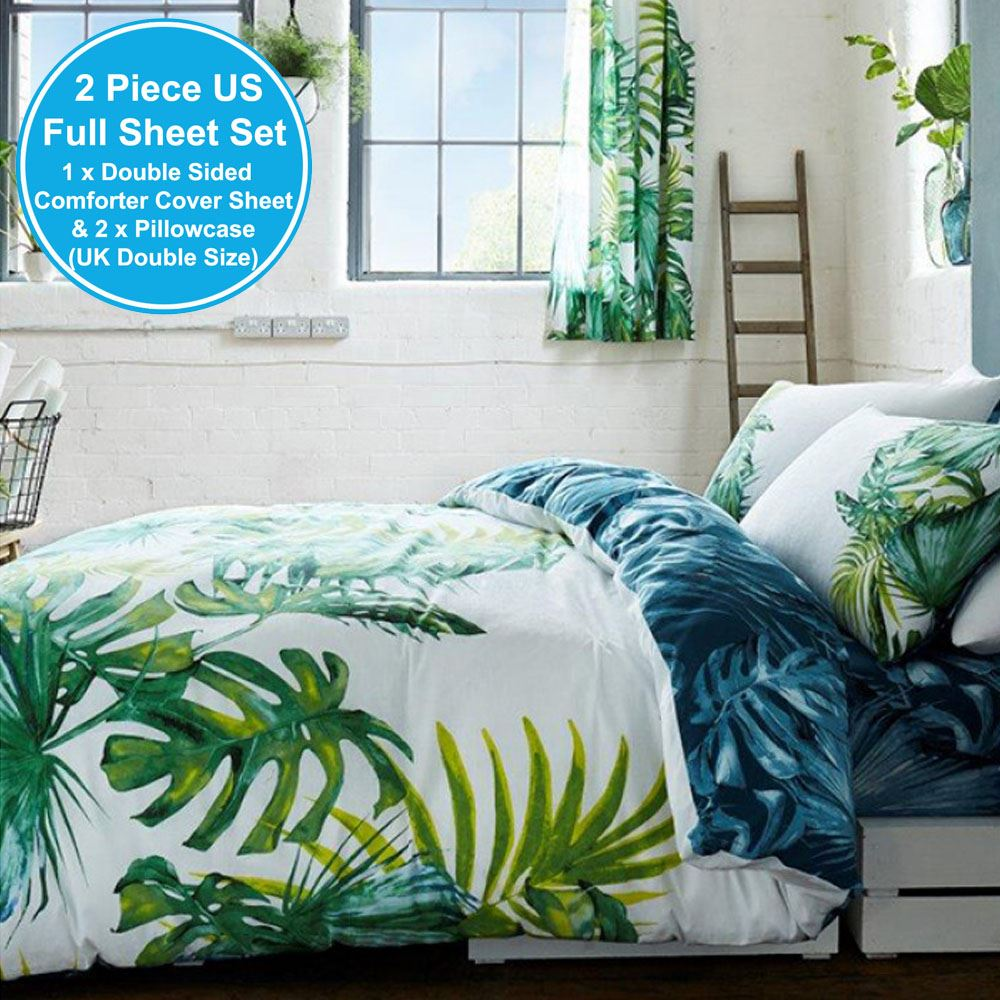 Botanical Palm Leaves Duvet Cover Set Reversible Double