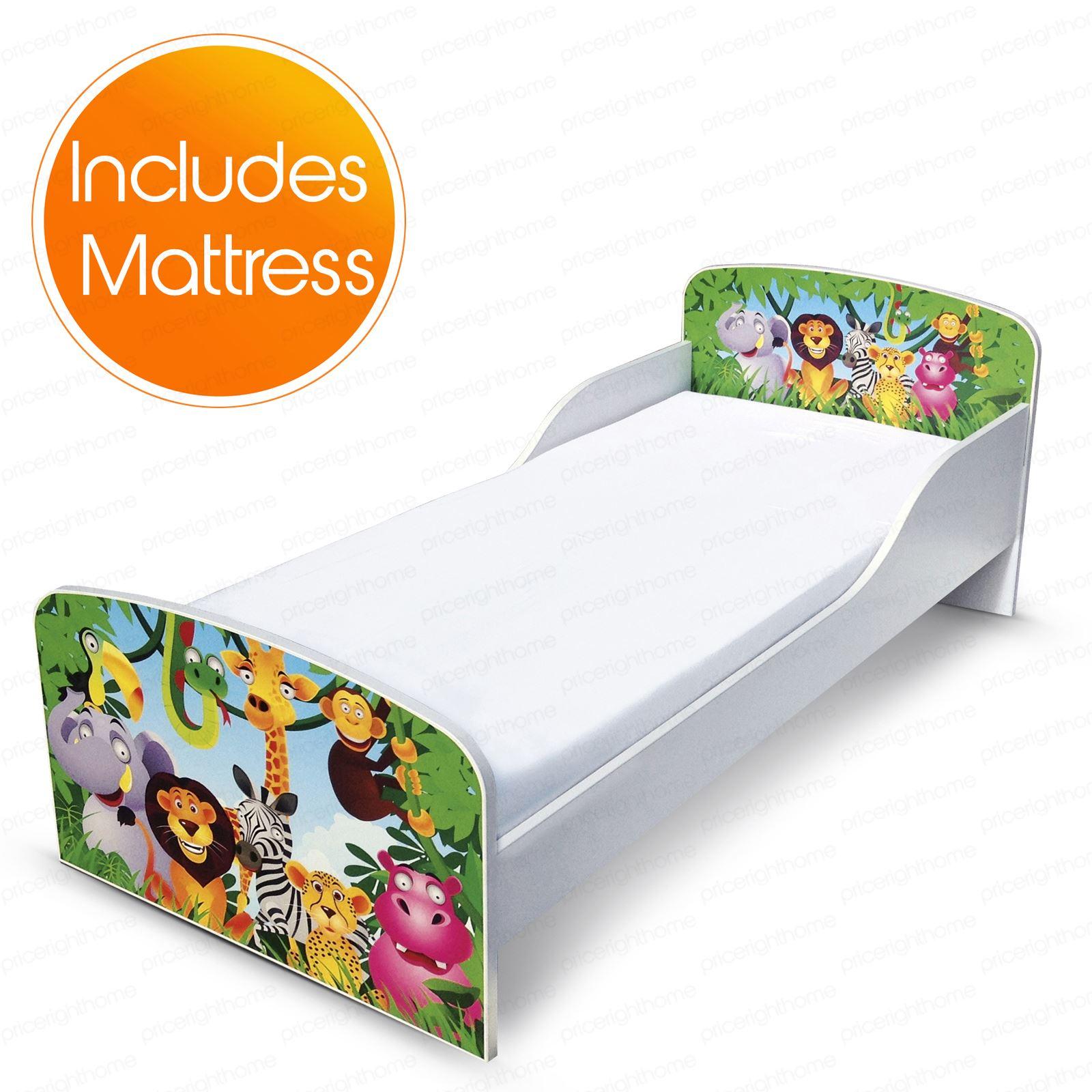 JUNGLE MDF TODDLER BED MATTRESS NEW LION ELEPHANT MONKEY ZEBRA