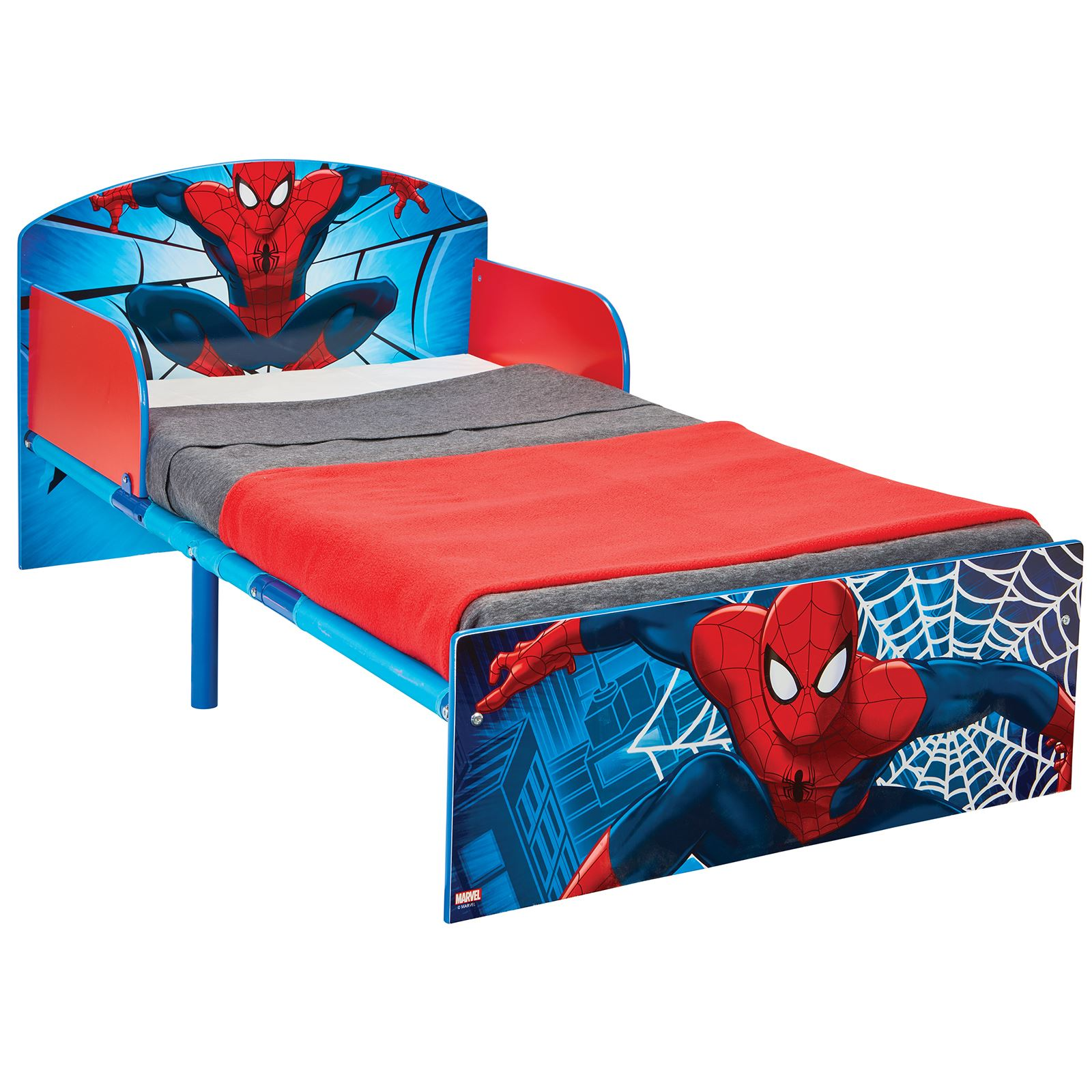 SPIDERMAN TODDLER BED WITH PROTECTIVE SIDE GUARDS & 3 ...