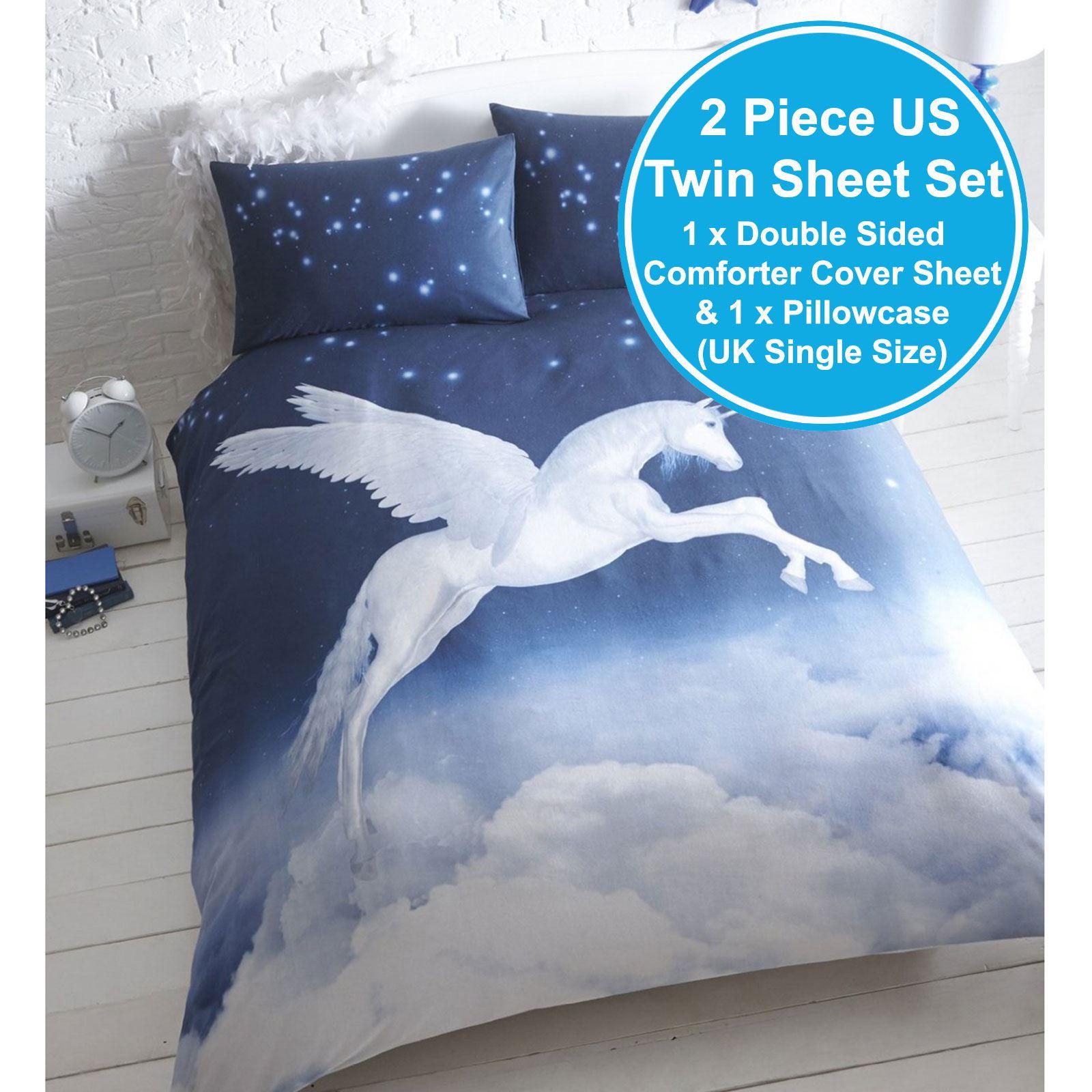 Neuf Licorne Set Housse De Couette Simple Literie Enfant Bleu Ebay