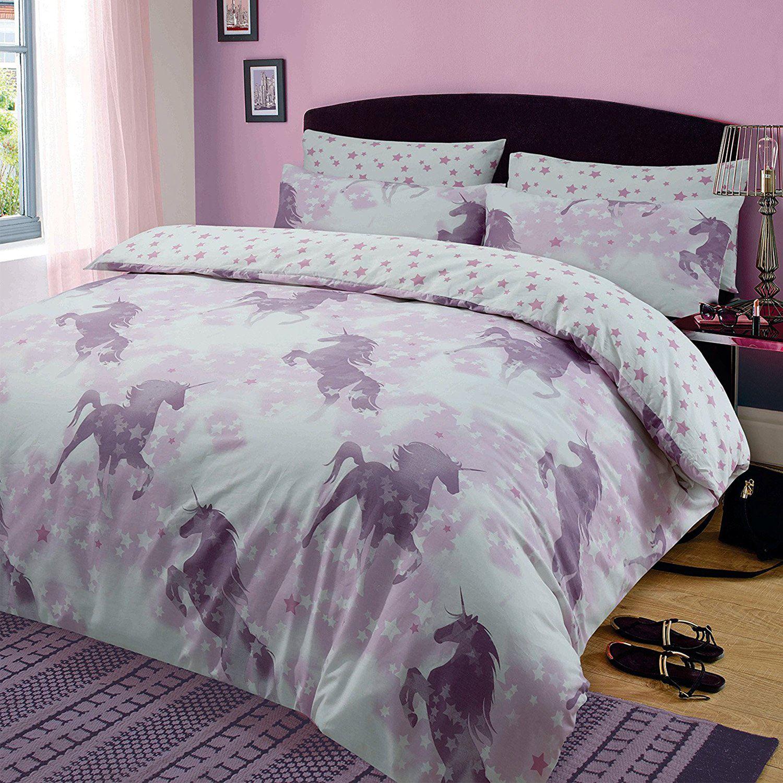 Unicorn dreams duvet cover set reversible single double king size