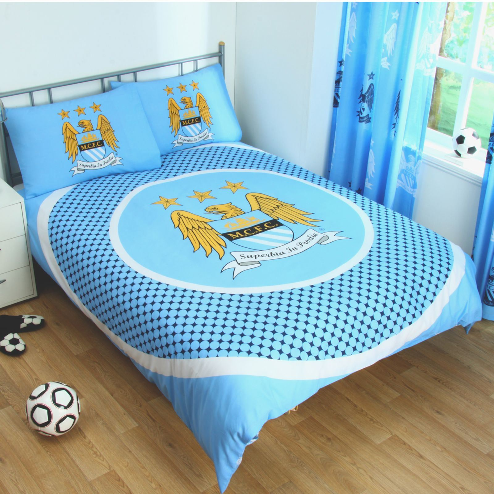 Manchester City Duvet Cover Sets Crest Blue Football