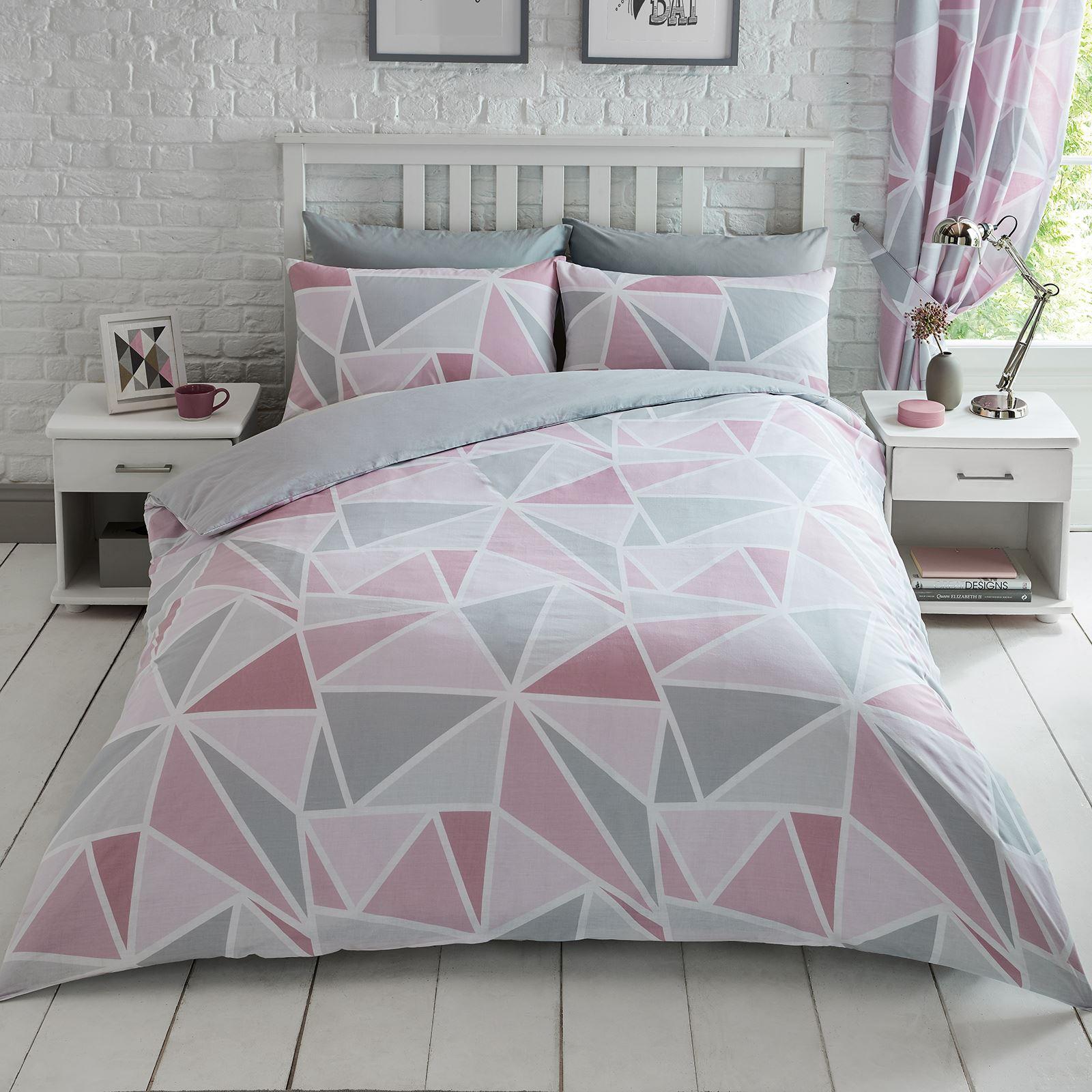 Metro Triangle King Duvet Cover Set Pink Grey Modern