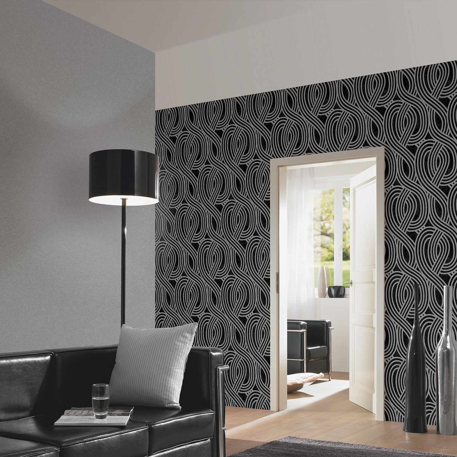 Carat glitter wallpaper dark silver 13348 60 bedroom - Feature wall ideas living room wallpaper ...