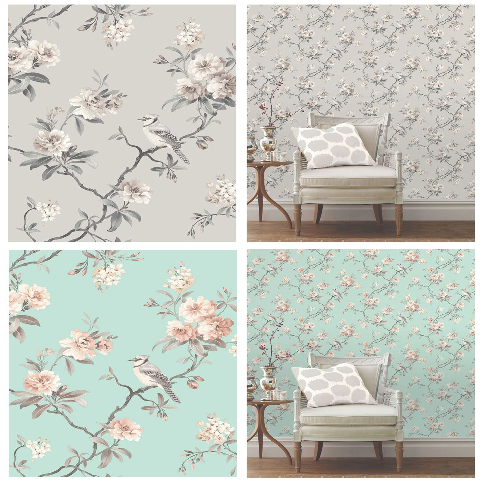 Newcastle United Bedroom Wallpaper Bedroom Decor Dark Wood Creative Apartment Bedroom Quirky Bedroom Furniture: FINE DECOR CHIC FLORAL CHINOISERIE BIRD WALLPAPER IN GREY