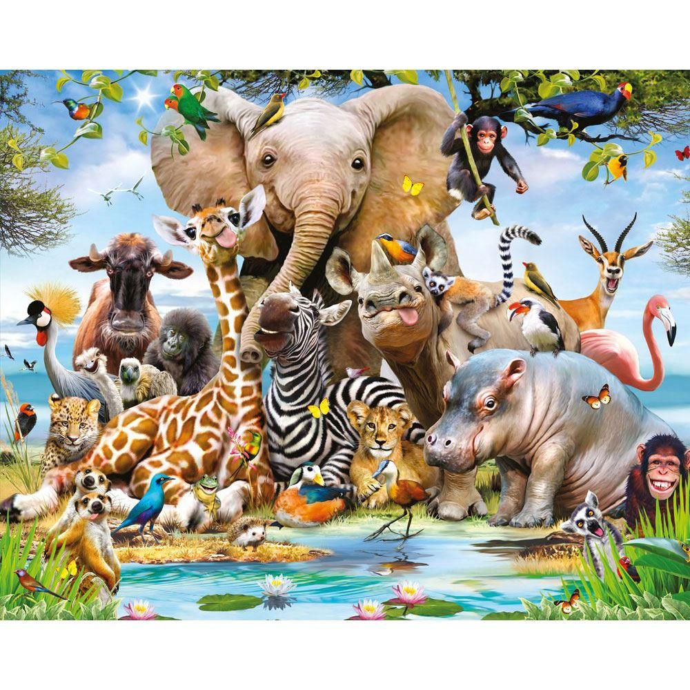 Details About Walltastic Jungle Safari Animals Wall Mural Wallpaper Kids 2 44m X 3 05m