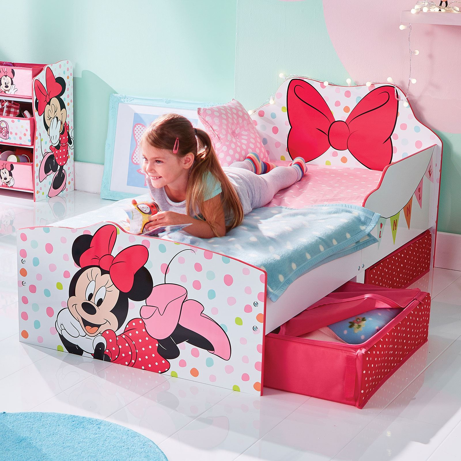 MINNIE MOUSE TODDLER BED WITH STORAGE POLKA DOTS BOW ...