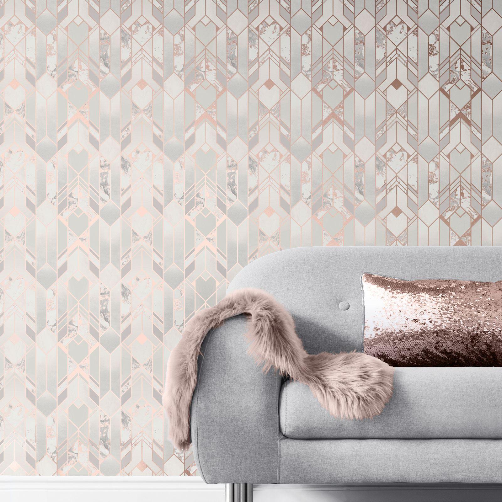 Rotgold-Tapete-Grau-Creme-Exotisch-Blumen-Tropisch-Palme-Blaetter-Geometrisch Indexbild 23