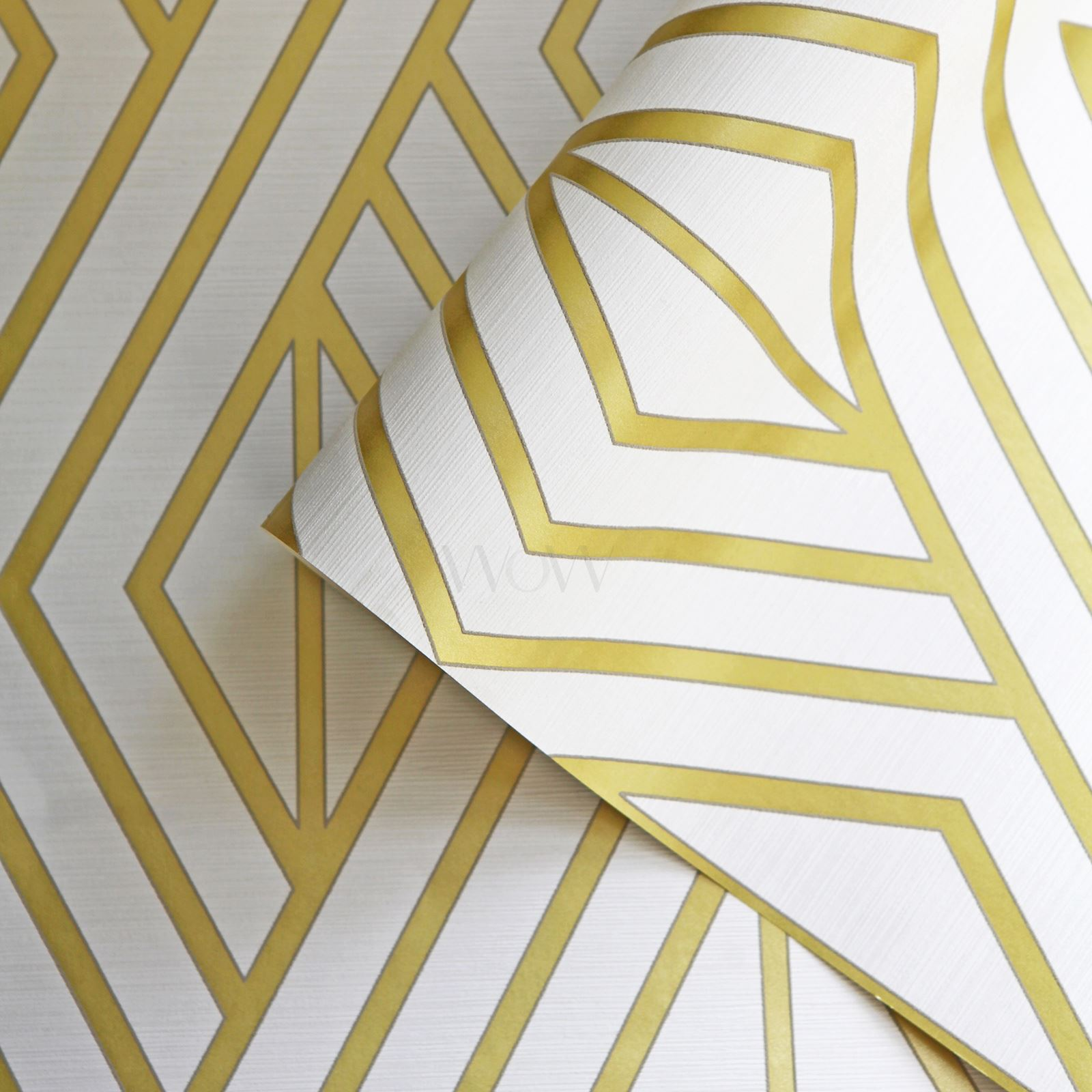 Geometric Wallpaper White Gold Pear Tree Studios Uk30515