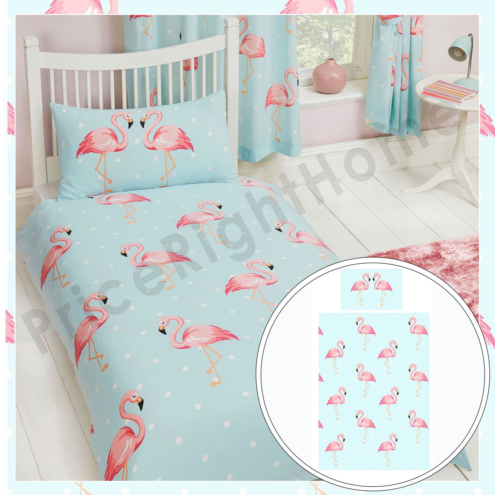 fifi flamant rose set housse de couette simple enfants filles literie neuf ebay. Black Bedroom Furniture Sets. Home Design Ideas
