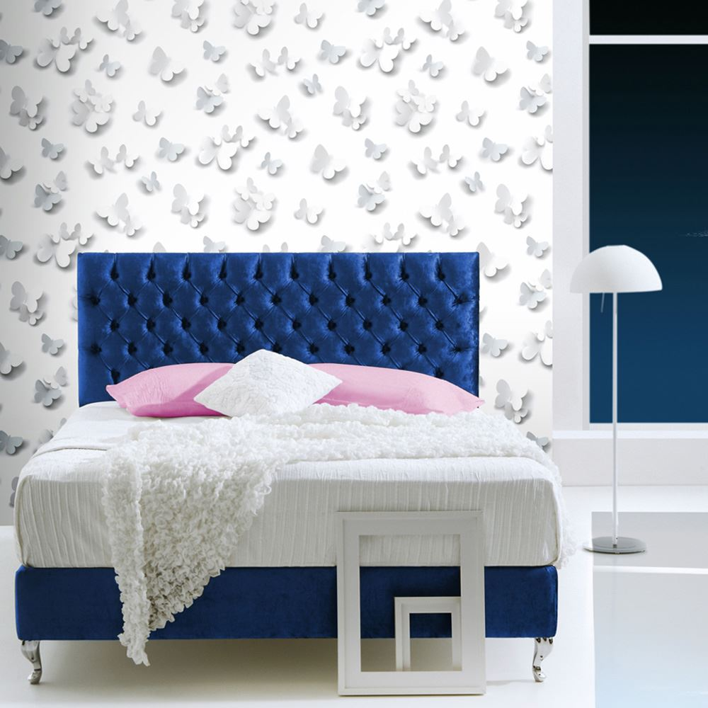 Sleigh Bedroom Sets King Bedroom Jpg Simple Bedroom Colour Design Bedroom Accessories Uk: 3D GLITTER HEARTS BUTTERFLIES WALLPAPER PINK WHITE FEATURE