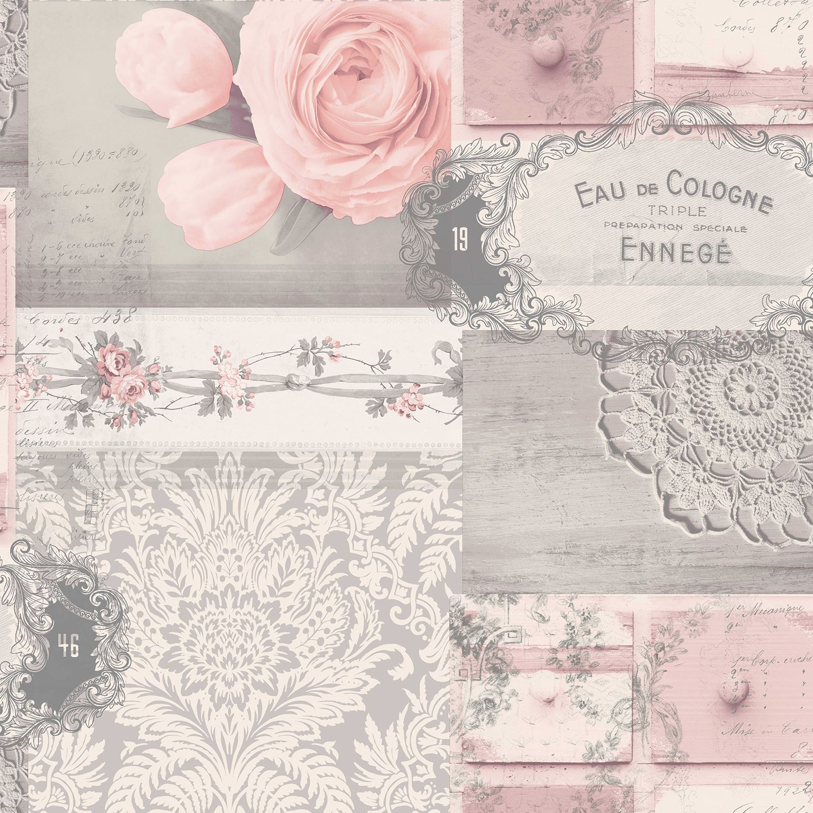 Collage Wallpaper Kids Adults Floral Shabby Chic Unicorns Wood Vintage Story Flower Rose 3
