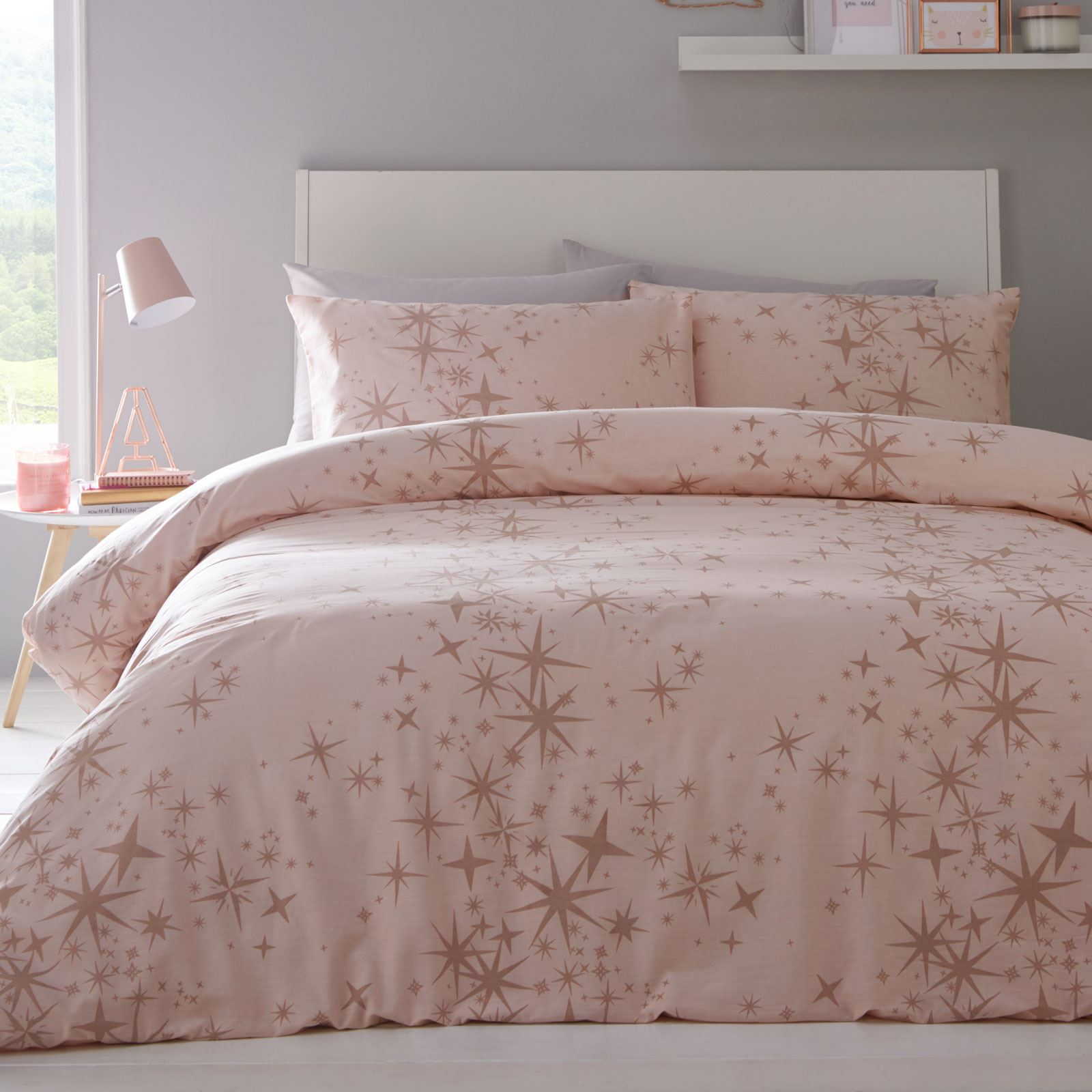 Details About Rose Gold Glitter Stars Double Duvet Cover Set Pink Girls Bedding