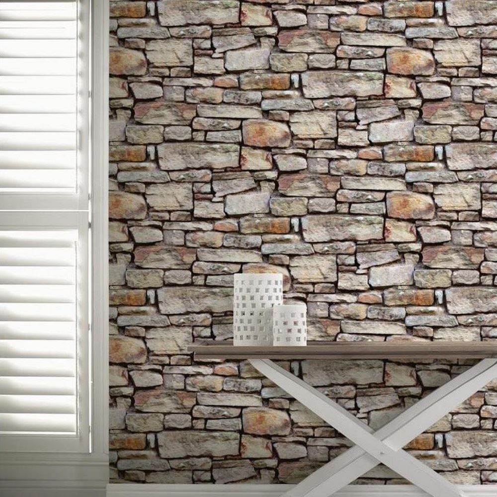 Cornish stone wall wallpaper rolls brown arthouse 668900 for Stone wall art