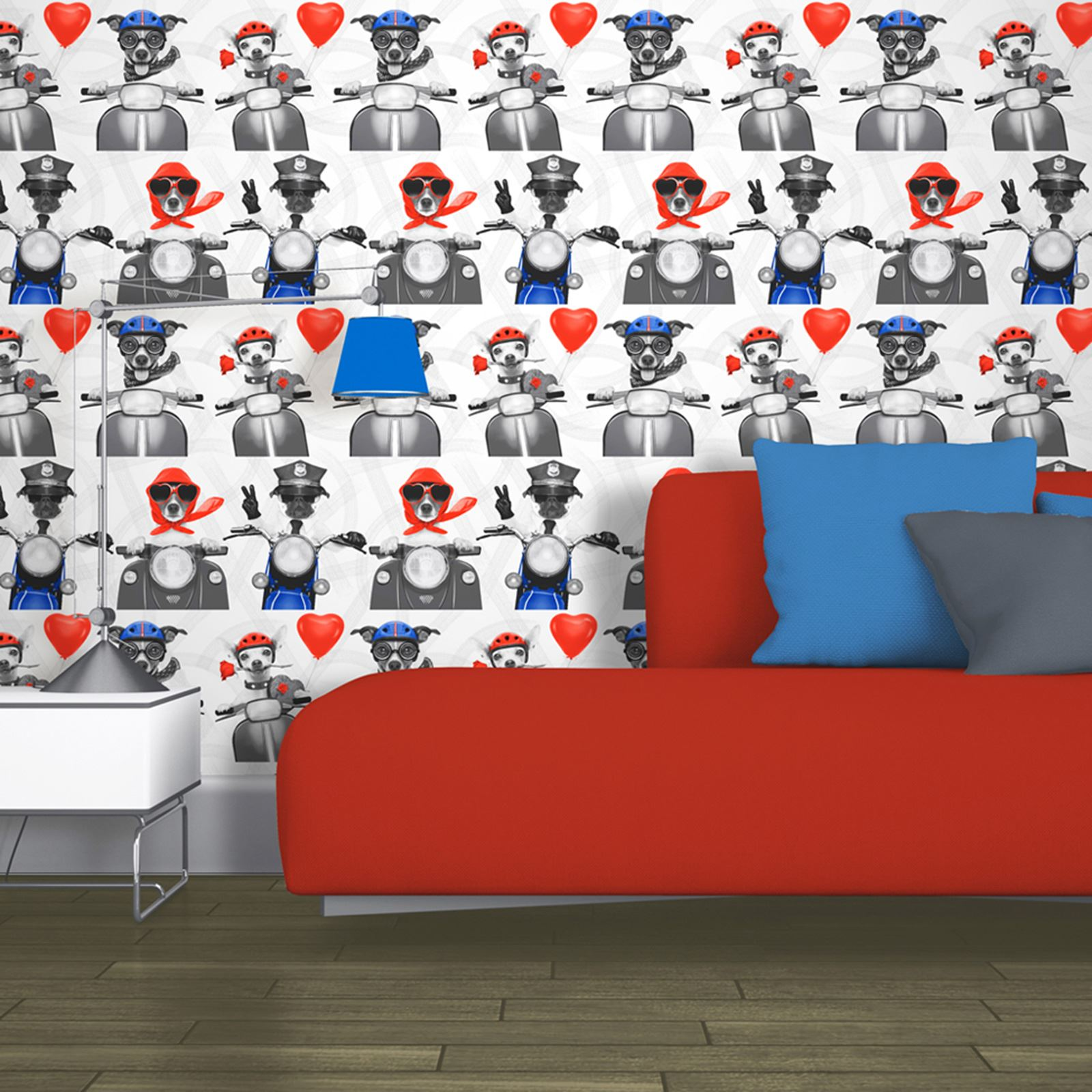 Biker Dogs Wallpaper Muriva 102561 New Scooters Pug Puppy Puppies