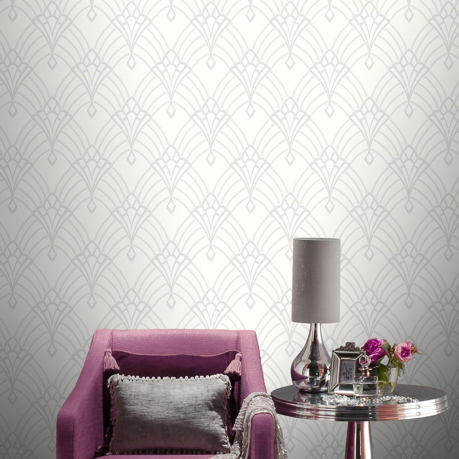 astoria art deco tapete wei silber rasch 305302 glitzer neu ebay. Black Bedroom Furniture Sets. Home Design Ideas