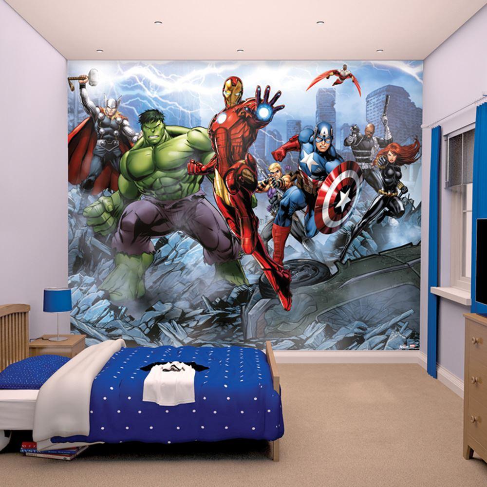 WALLTASTIC MARVEL AVENGERS ASSEMBLE WALL MURAL 2.44M X 3.05M CHILDRENS  BEDROOM
