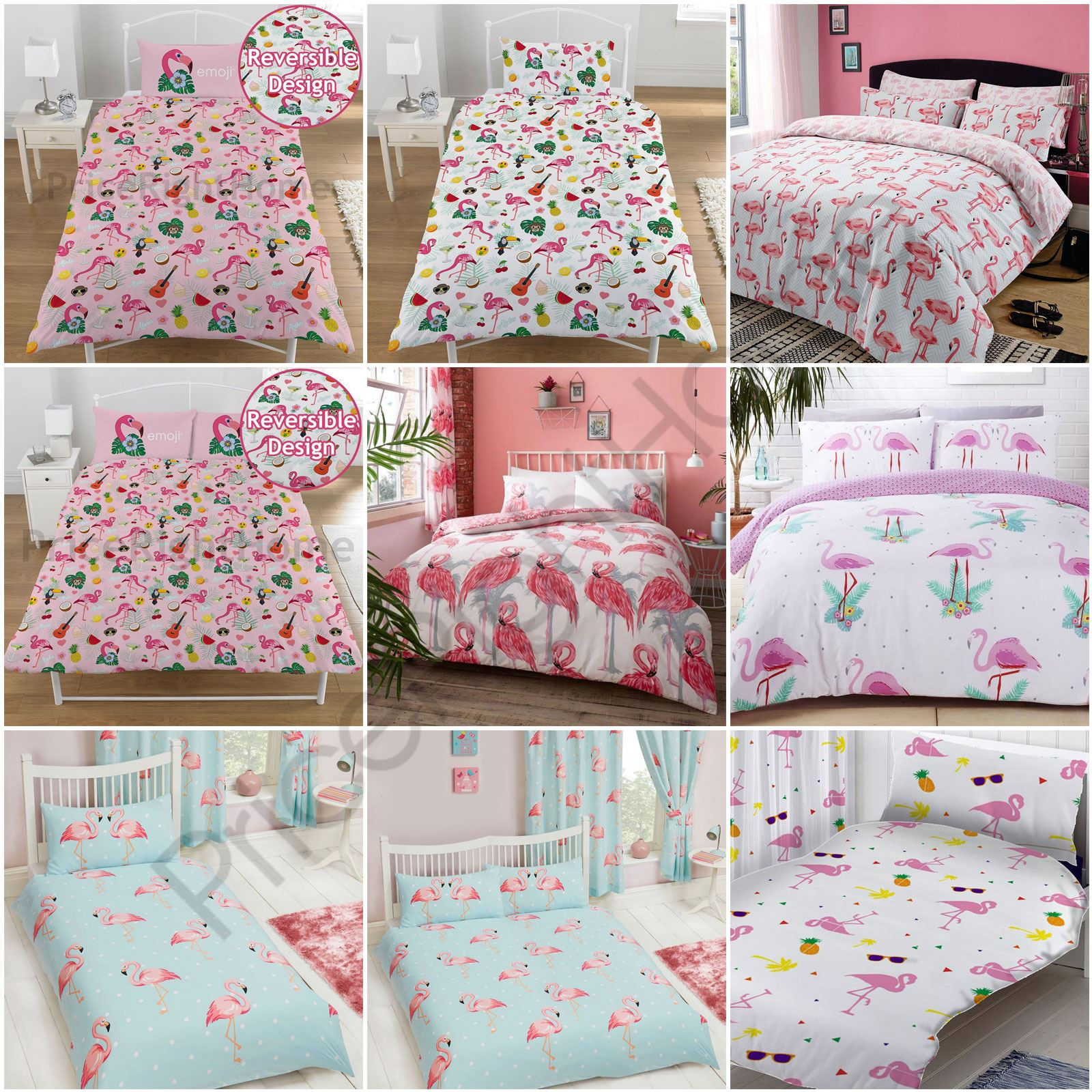 Flamingo Duvet Cover Sets Kids Adults Bedding  Single, Double