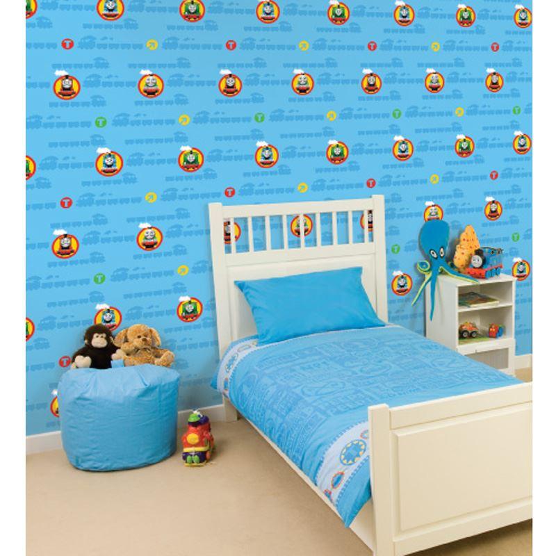 THOMAS THE TANK ENGINE NO1 WALLPAPER KIDS BEDROOM WALLPAPER BLUE FREE P+P