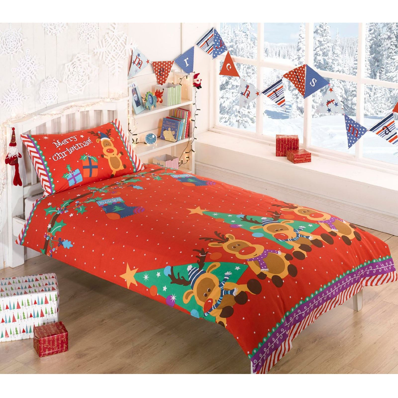 Kids Christmas Bedding Duvet Cover Bright Colourful Festive Xmas ...