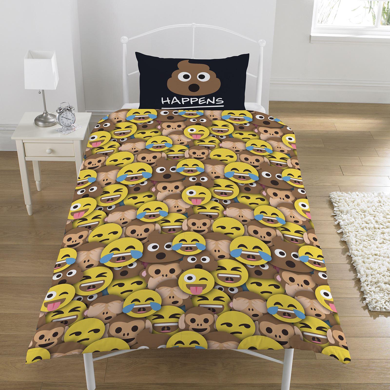 Emoji Mr Kacke Einzelbettbezug Set Pink Wende Kinder Teenager Sh T Passiert