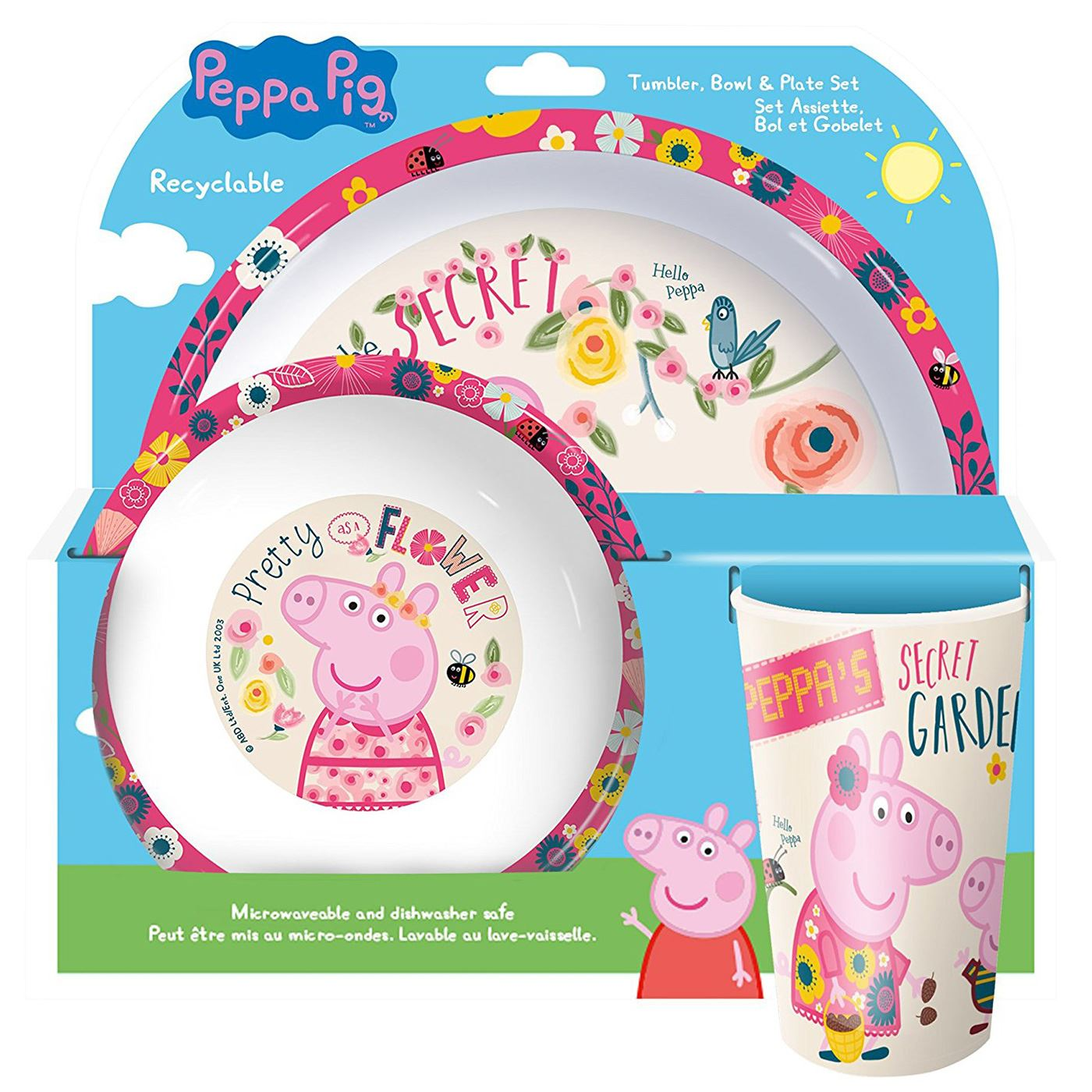 Kids Character Dinner Cutlery 3 Piece Set Cereal Bowl Tumbler