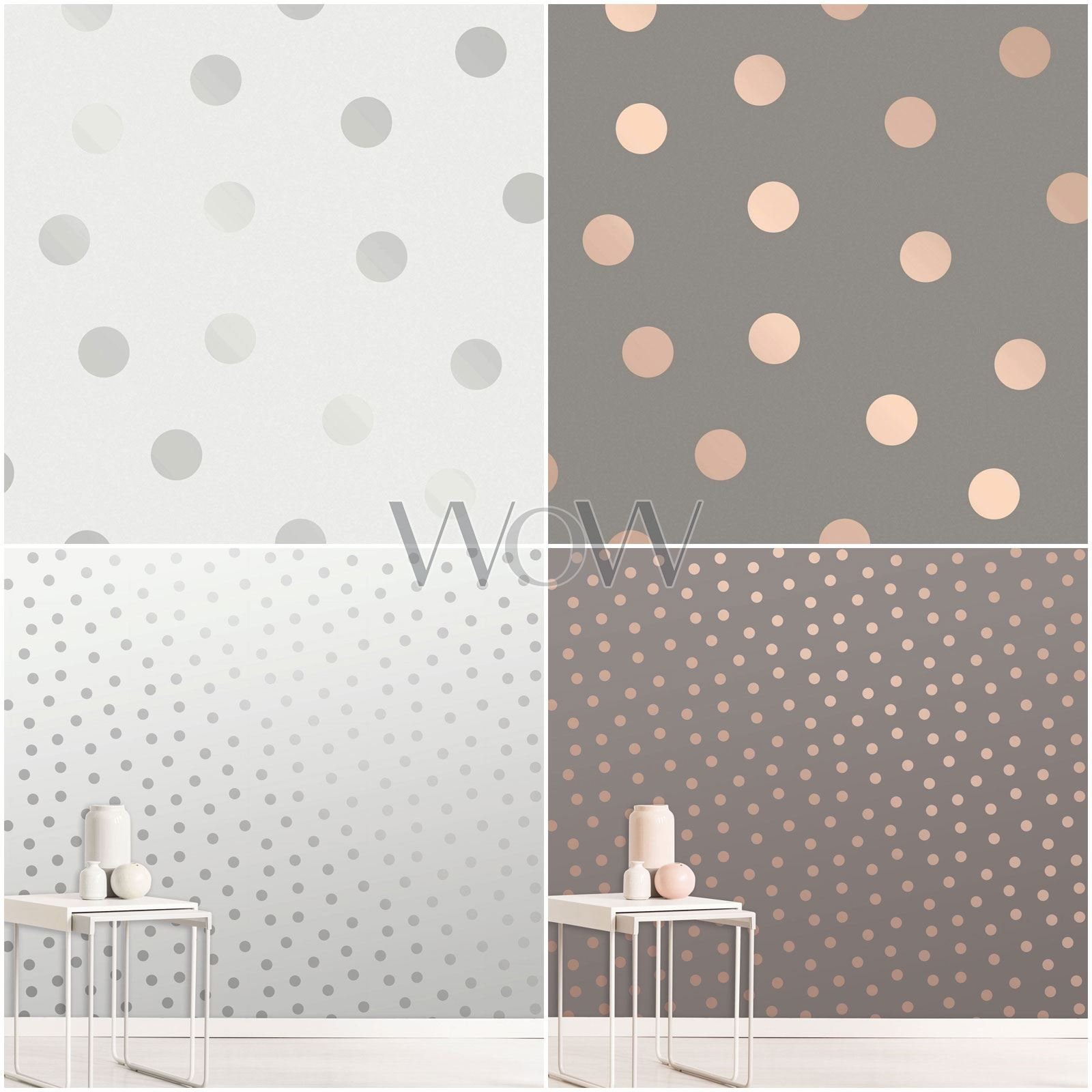 Details About Crown Starlight Spots Wallpaper Metallic Polka Dot Rose Gold Silver