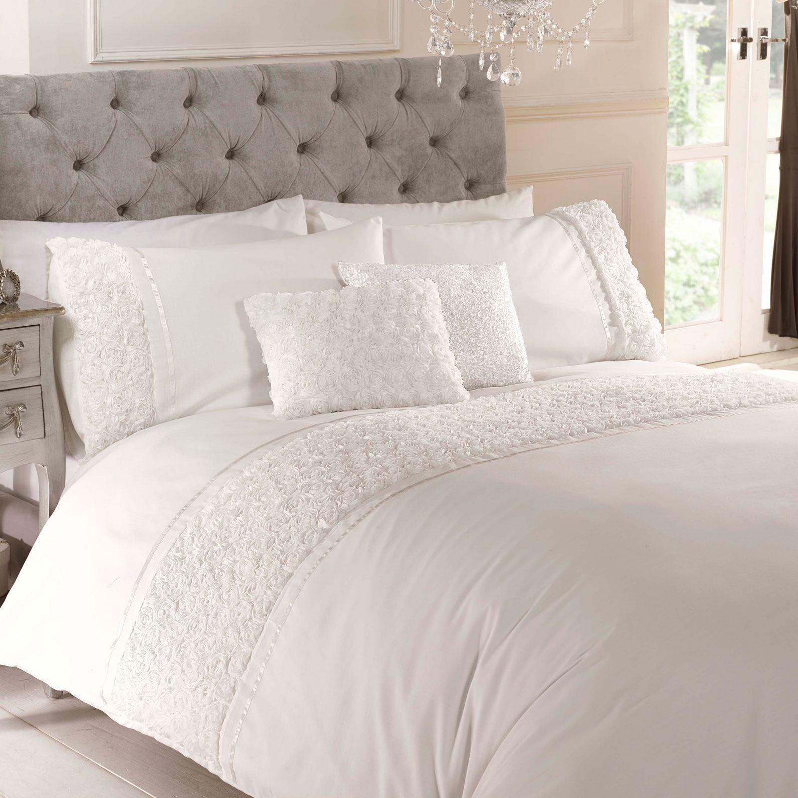 Limoges Rose Ruffle Cream King Size Duvet Cover Pillowcase Set