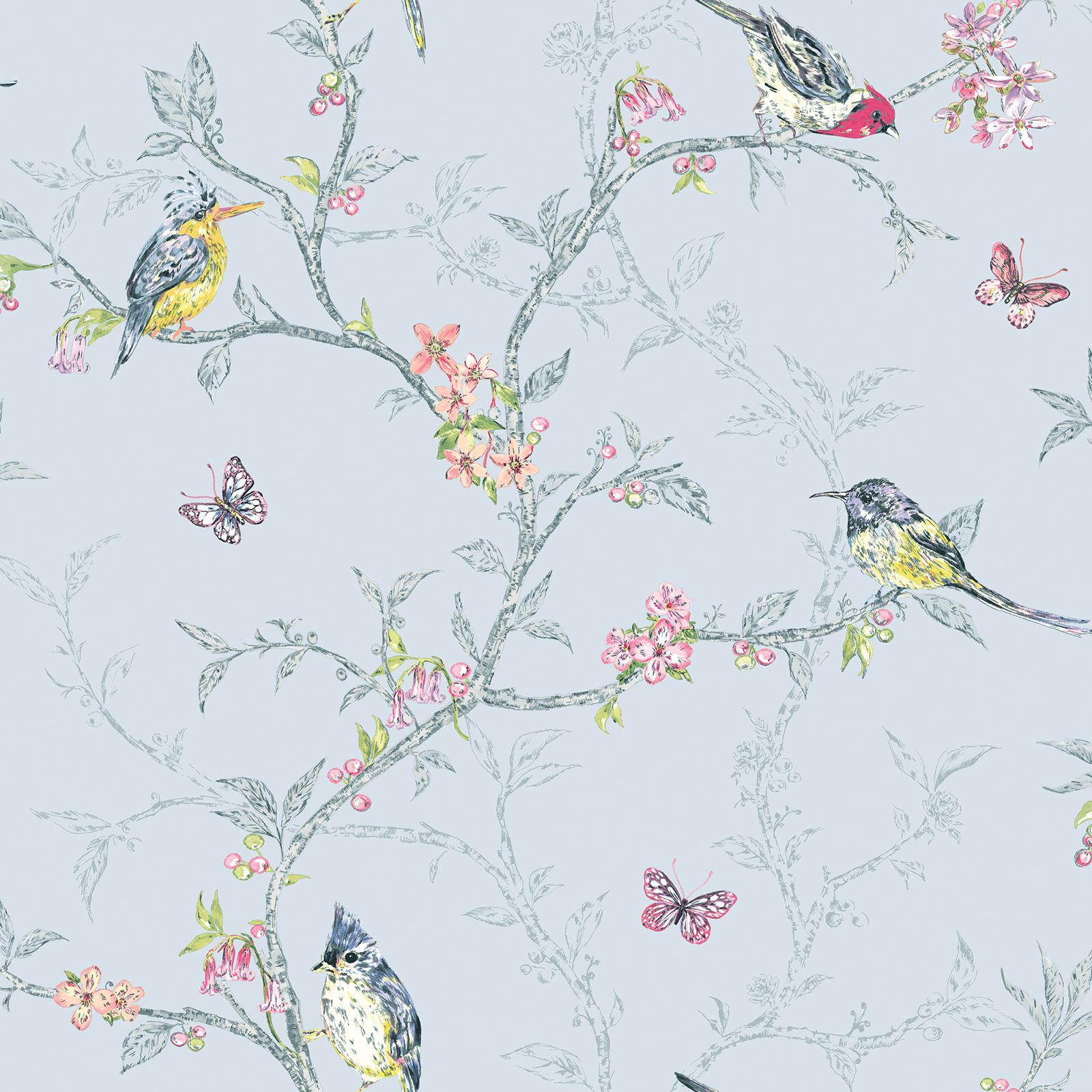 Phoebe Birds Wallpaper Pastel Floral Butterly Ebay