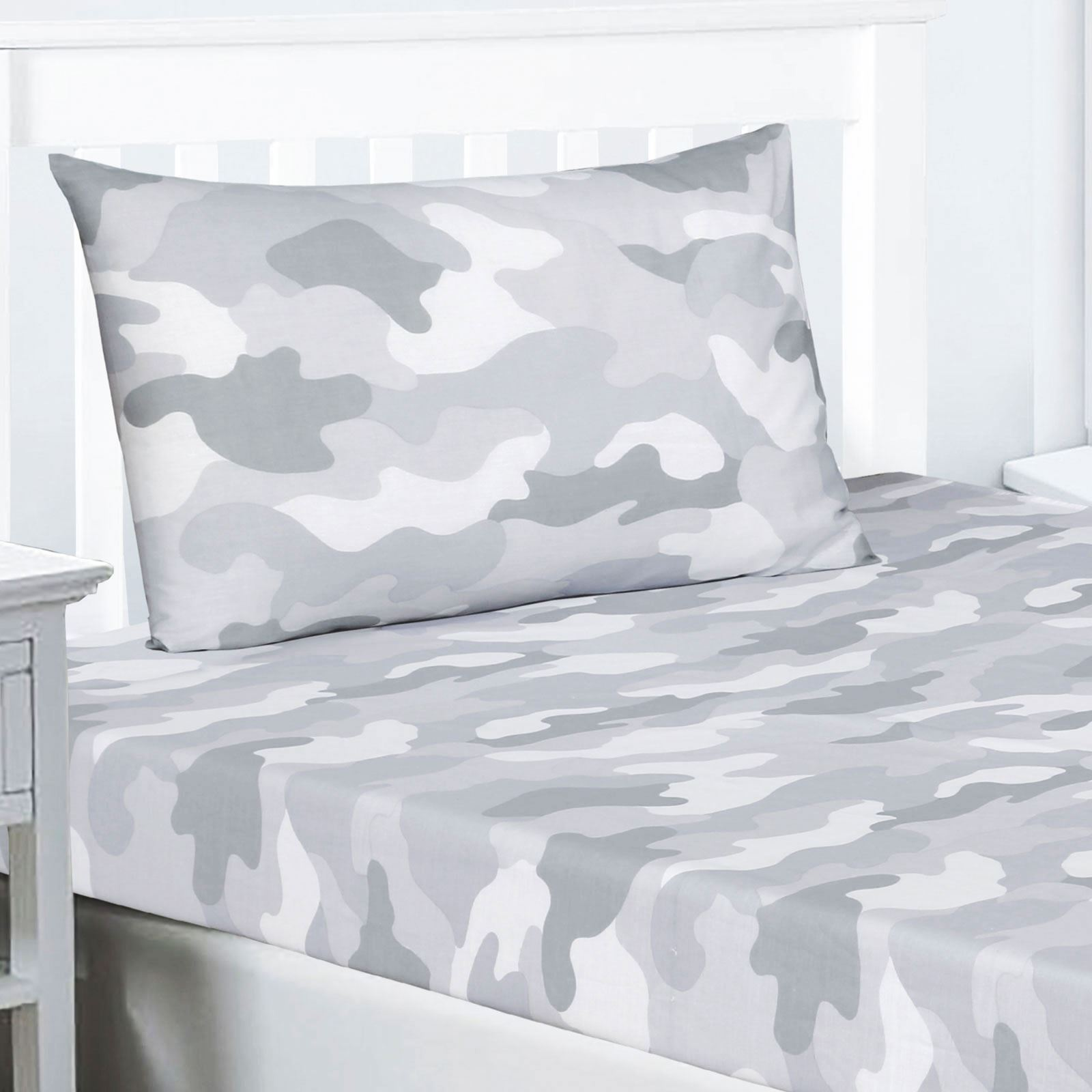 Army Camouflage Grey Double Duvet Cover Set Fitted Sheet