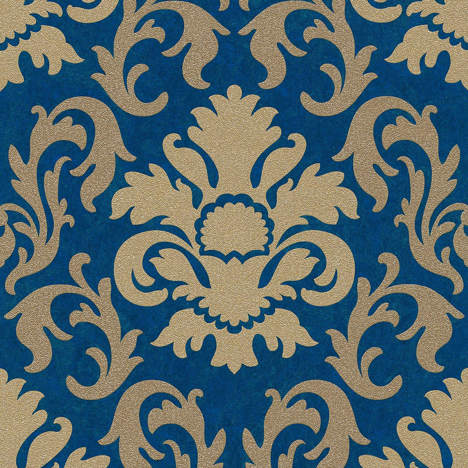 p&s carat blue & gold glitter wallpaper - damask, stripe