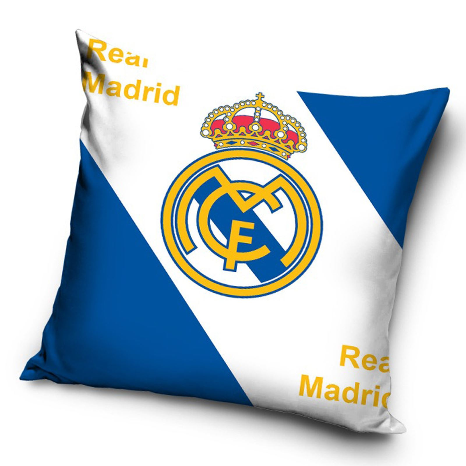 Rmcf real madrid football logo filled cushion white for Decoration chambre real madrid