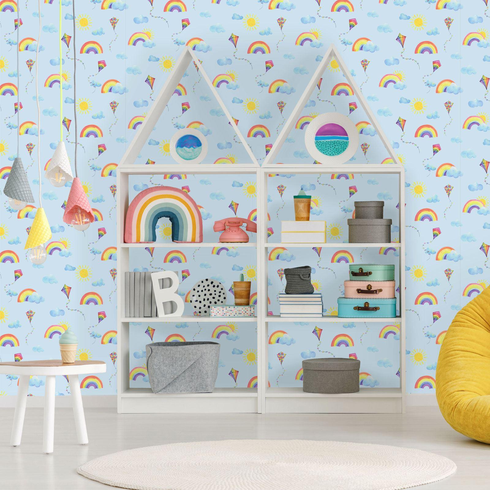 Over the Rainbow Mountains Wallpaper 91050 Boys Girls Playroom