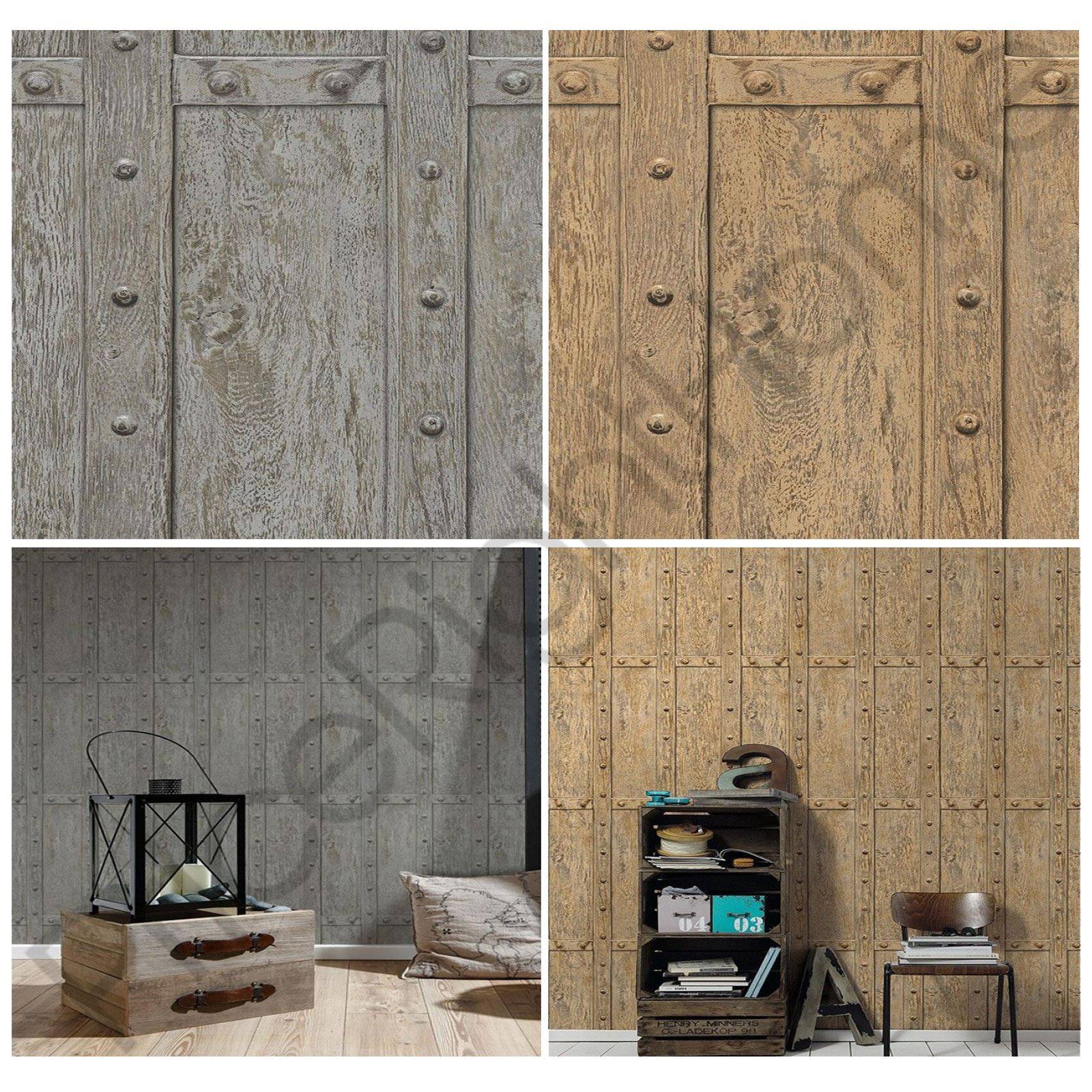 WOOD PANEL RIVETS WALLPAPER AS CREATION BROWN GREY FEATURE
