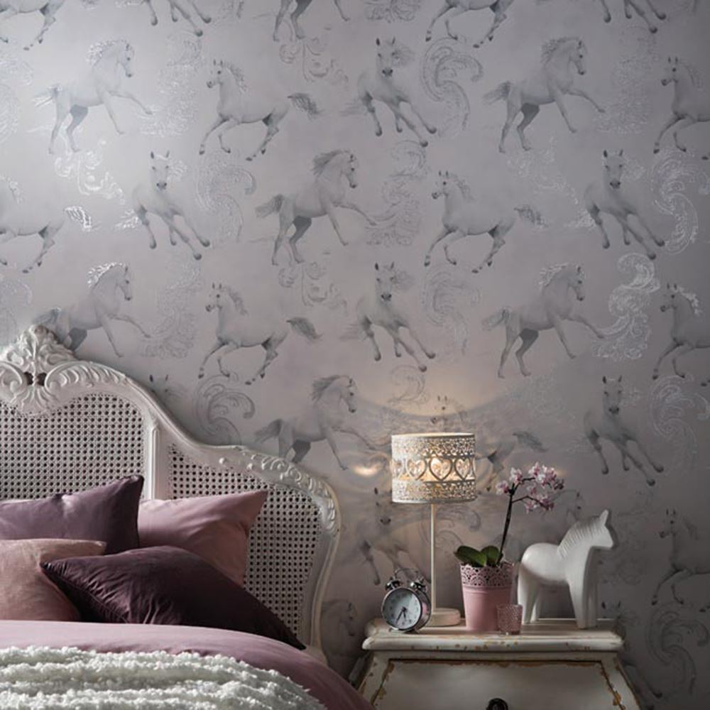 Girls chic wallpaper kids bedroom feature wall decor for Grey feature wallpaper bedroom