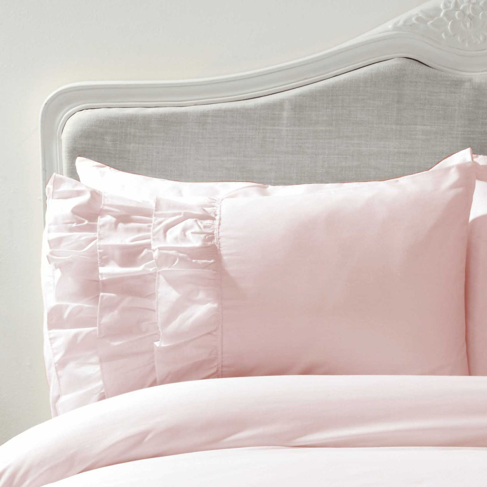 Details about flamenco ruffle duvet cover set bedding grey pink white single double king