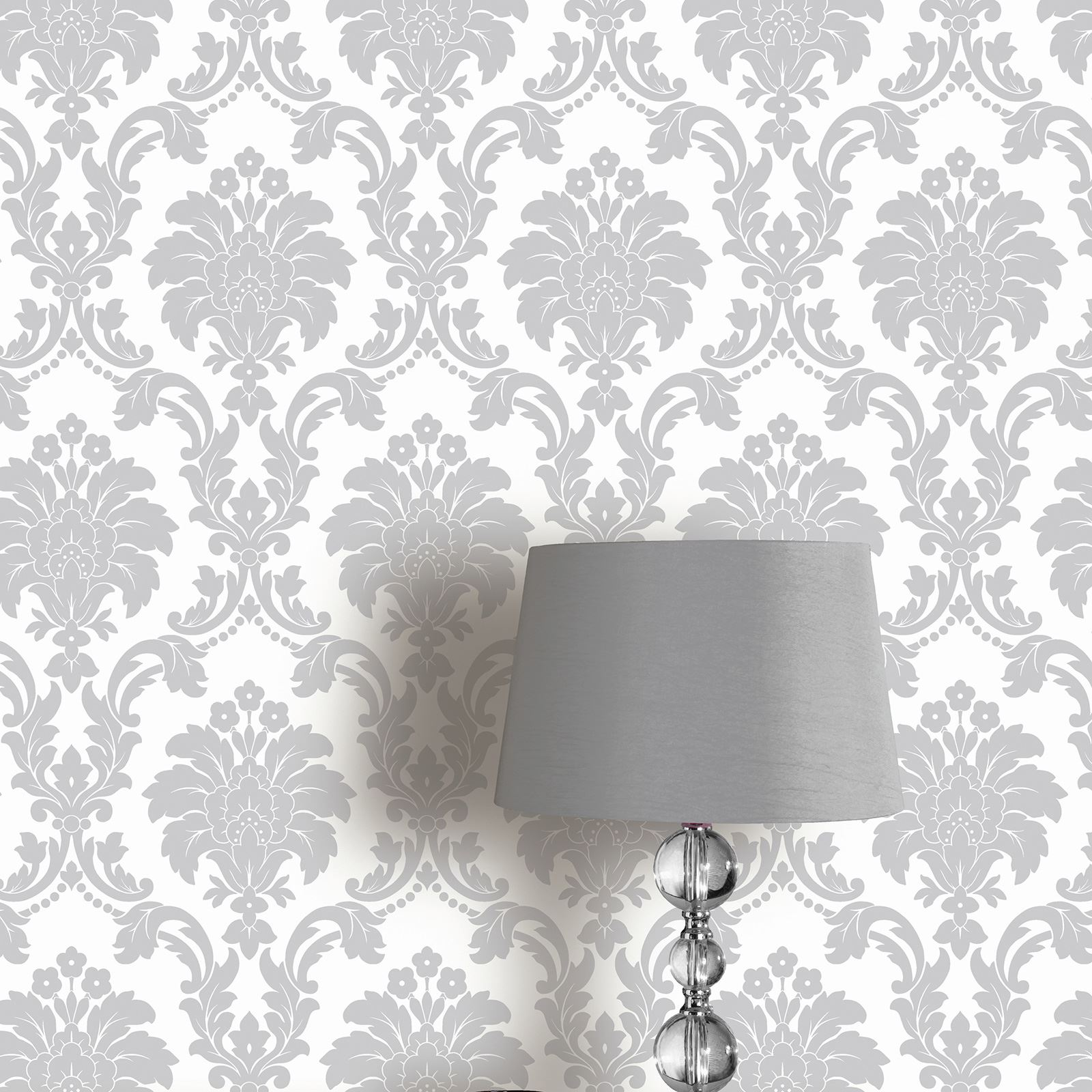 Arthouse Romeo Damask Wallpaper Black Blush Grey