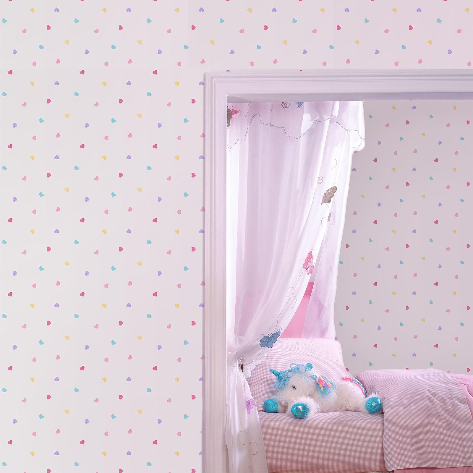 herz themen tapete m dchen schlafzimmer pink verschiedene. Black Bedroom Furniture Sets. Home Design Ideas