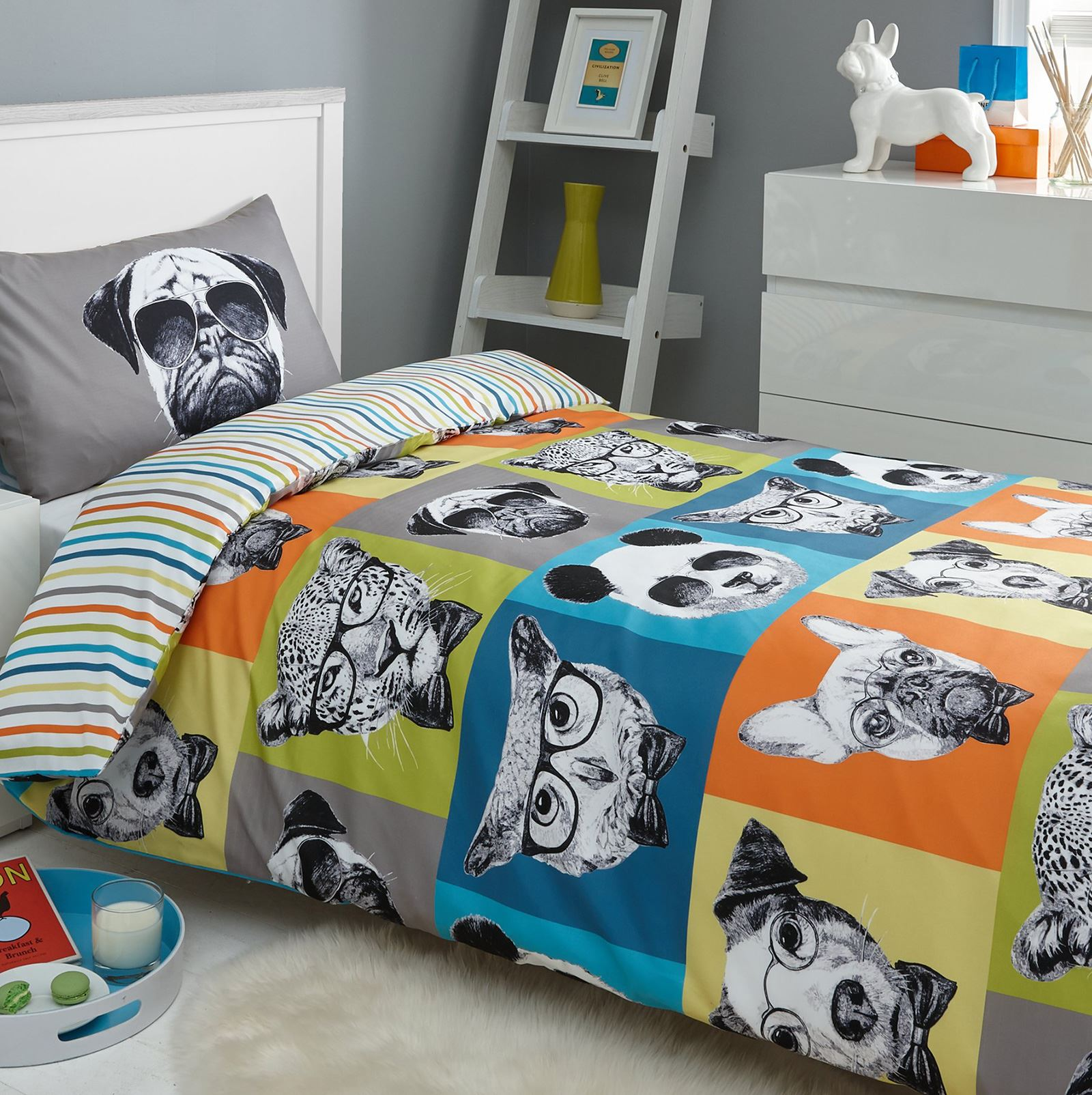 DREAMSCENE-DOUBLE-DUVET-COVER-SETS-ADULT-BEDDING-FLORAL-CHECK-CHRISTMAS-PUG